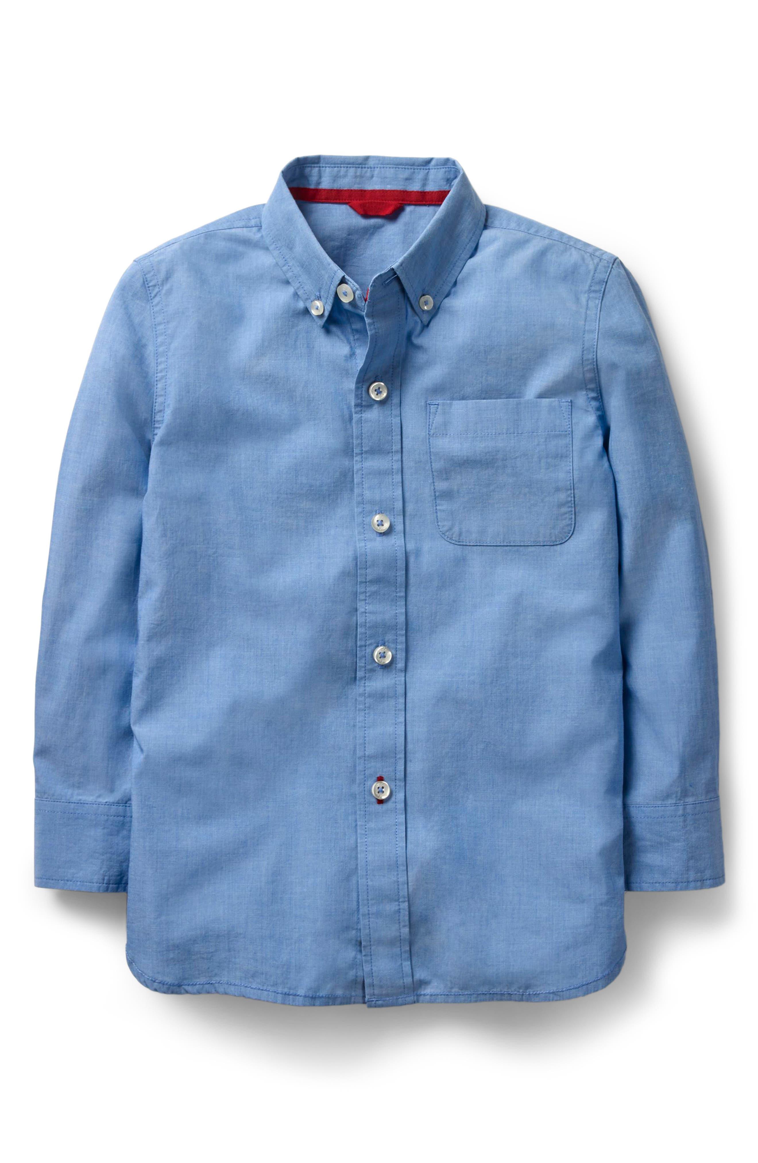 End on End Woven Shirt,                             Main thumbnail 1, color,                             Wave Blue