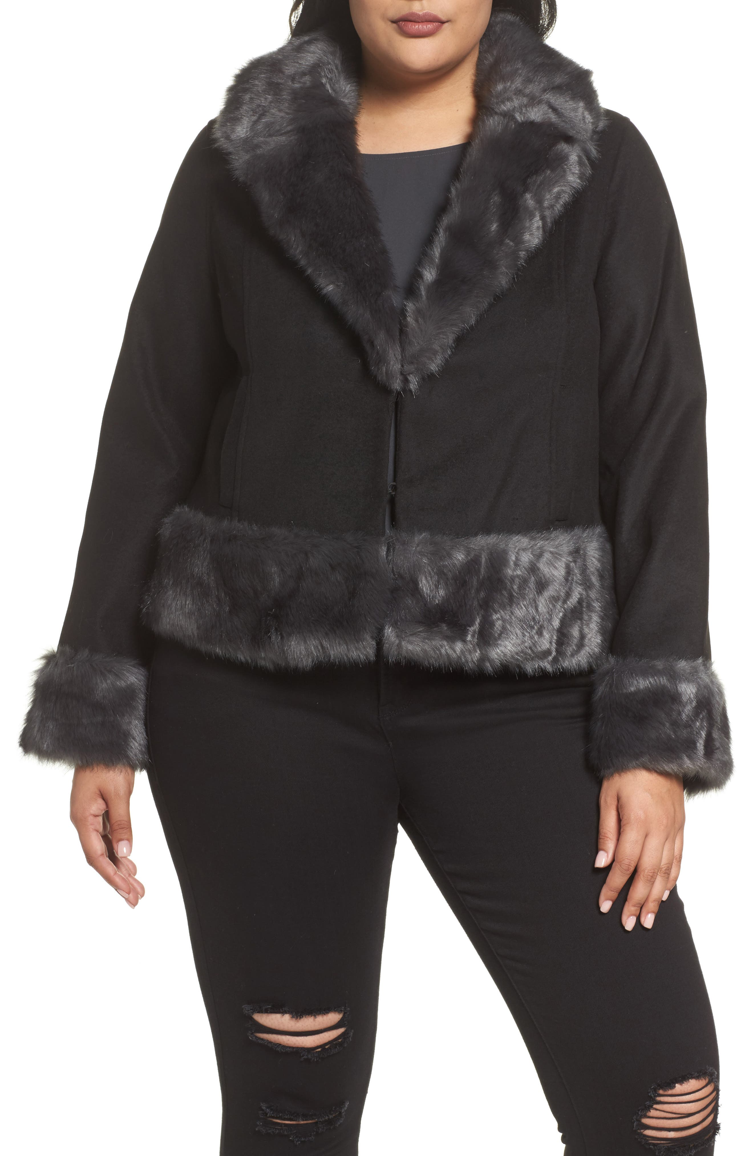 Jacket with Faux Fur Trim,                             Alternate thumbnail 4, color,                             Black