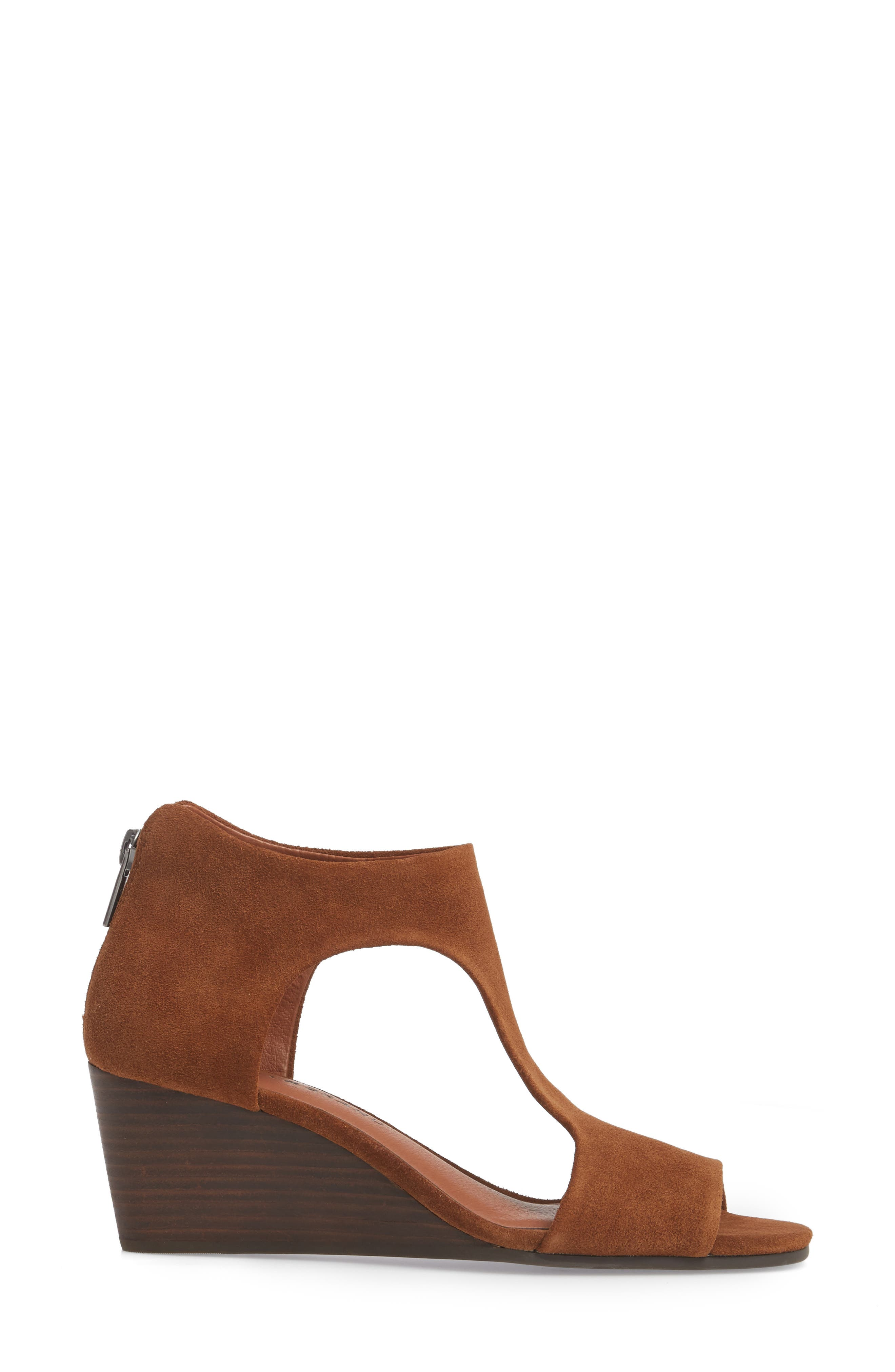 Tehirr Wedge Sandal,                             Alternate thumbnail 3, color,                             Cedar Suede