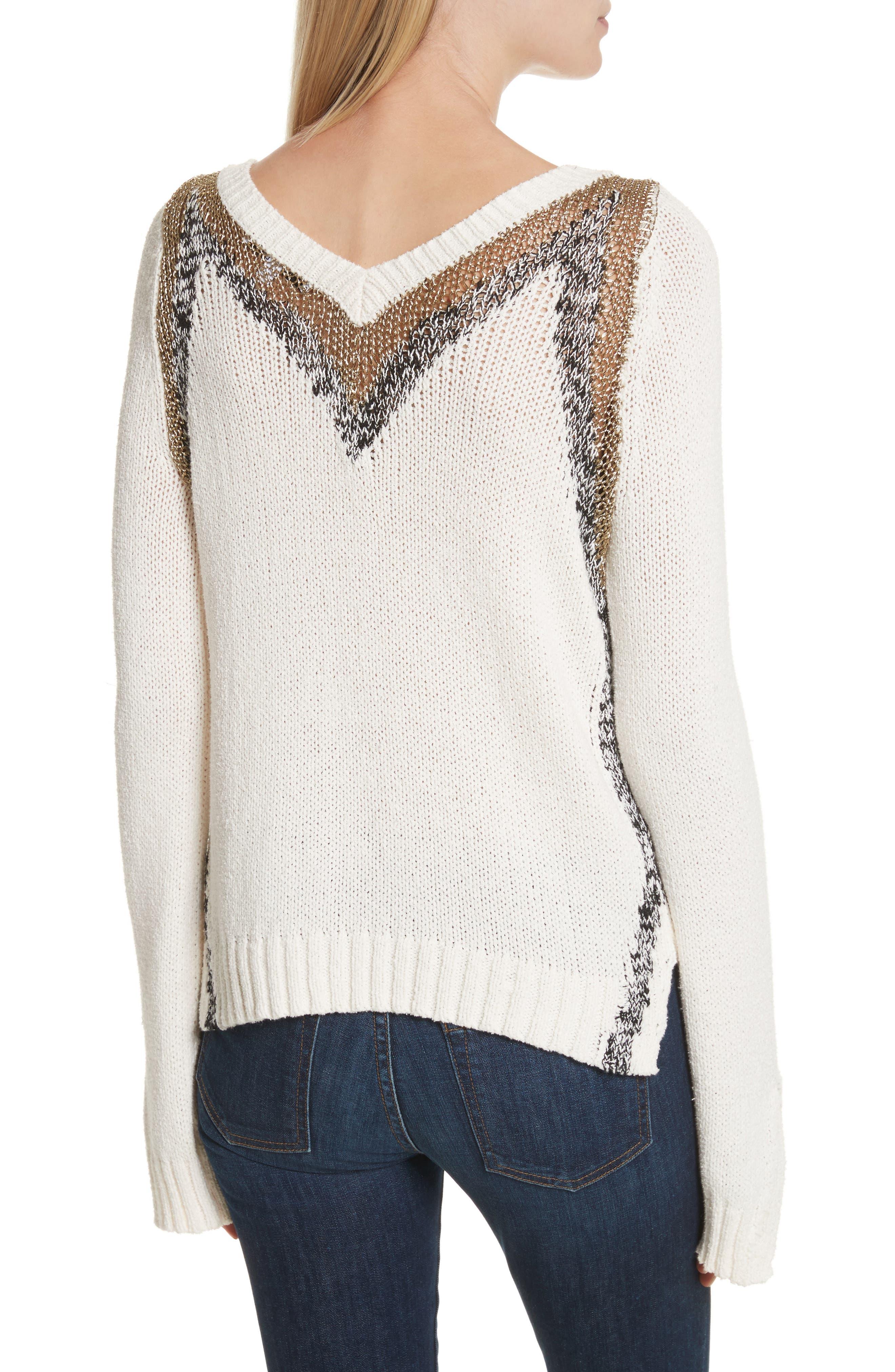V-Neck Stripe Pullover,                             Alternate thumbnail 2, color,                             Soft White