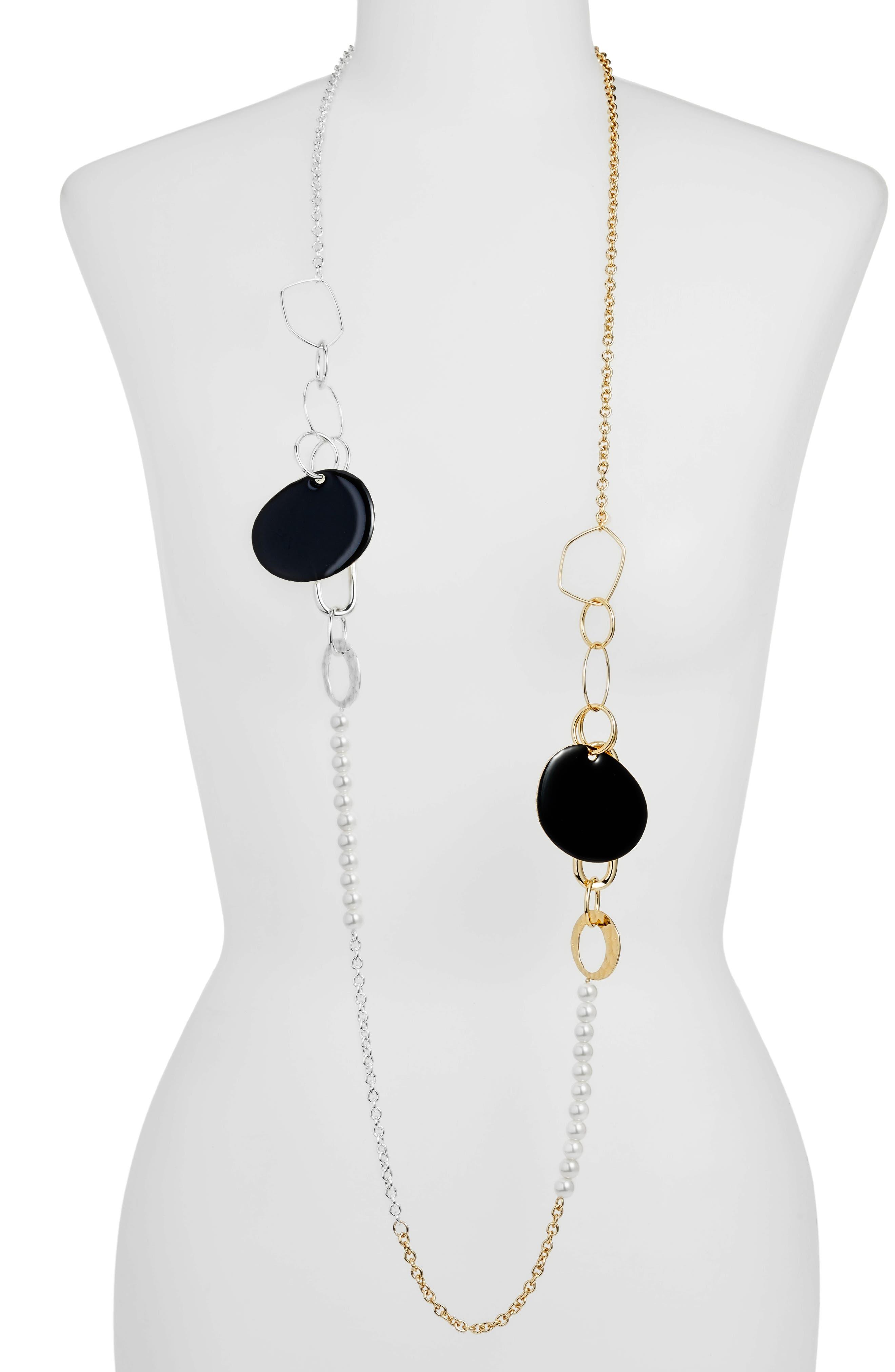 Long Ring & Imitation Pearl Necklace,                             Main thumbnail 1, color,                             Silver Multi