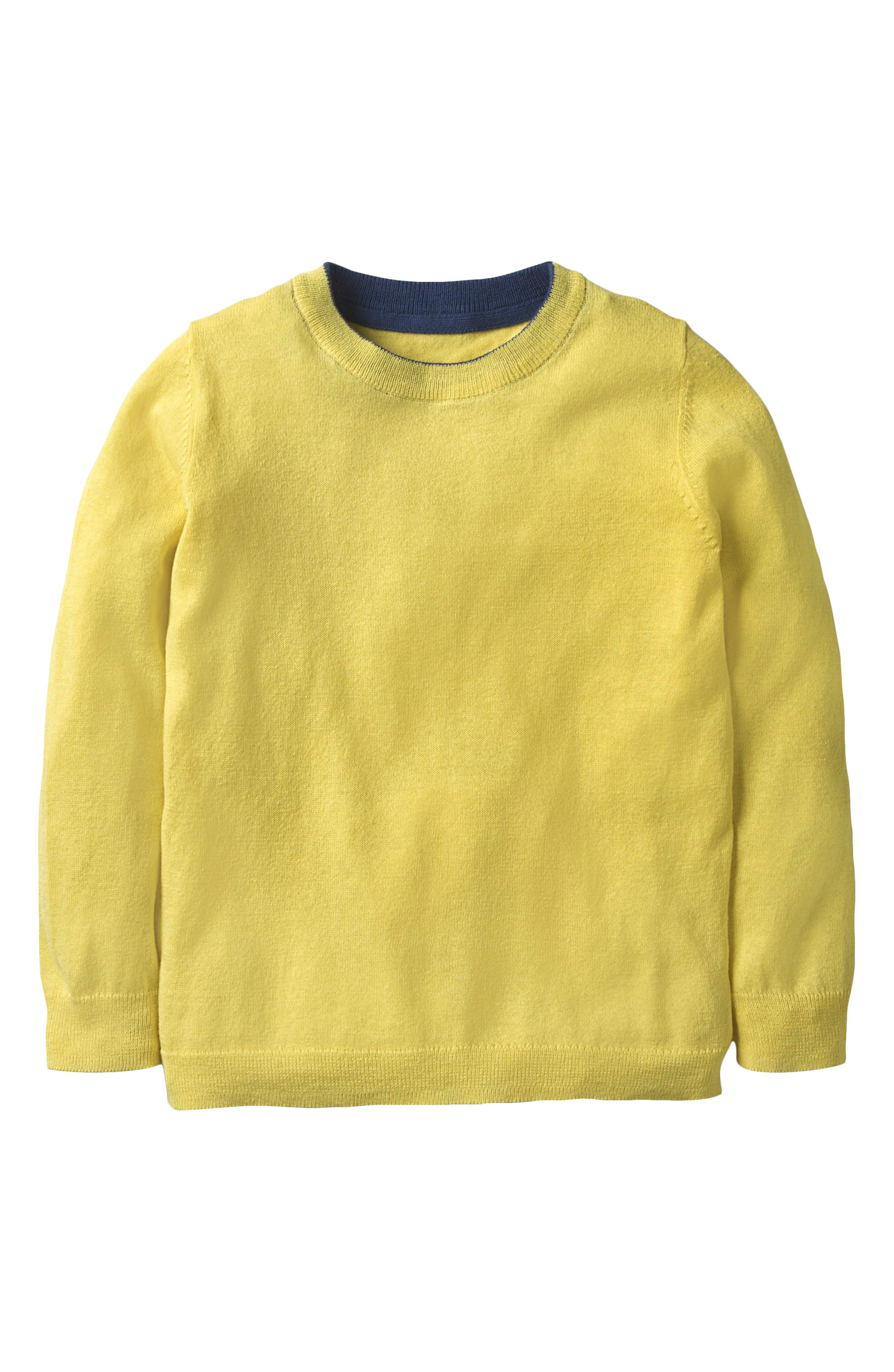Cotton & Cashmere Sweater,                             Main thumbnail 1, color,                             Sweetcorn Yellow