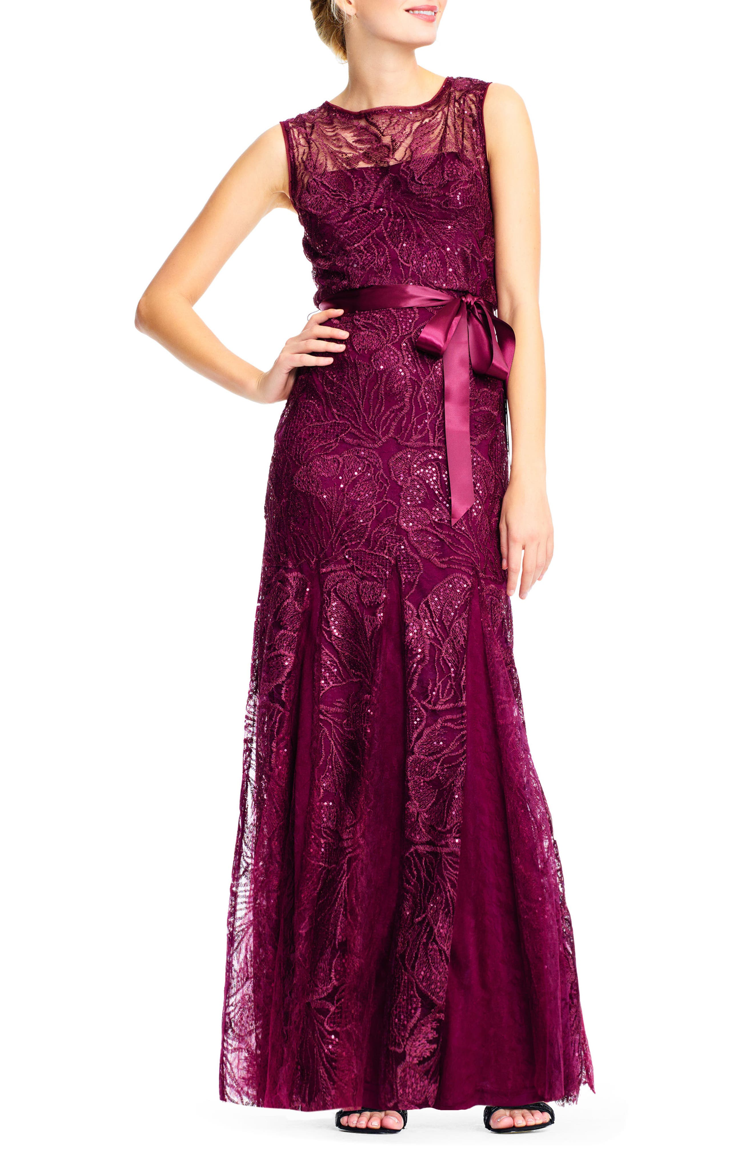 Tie Waist Sequin Lace Gown,                             Main thumbnail 1, color,                             Cabernet