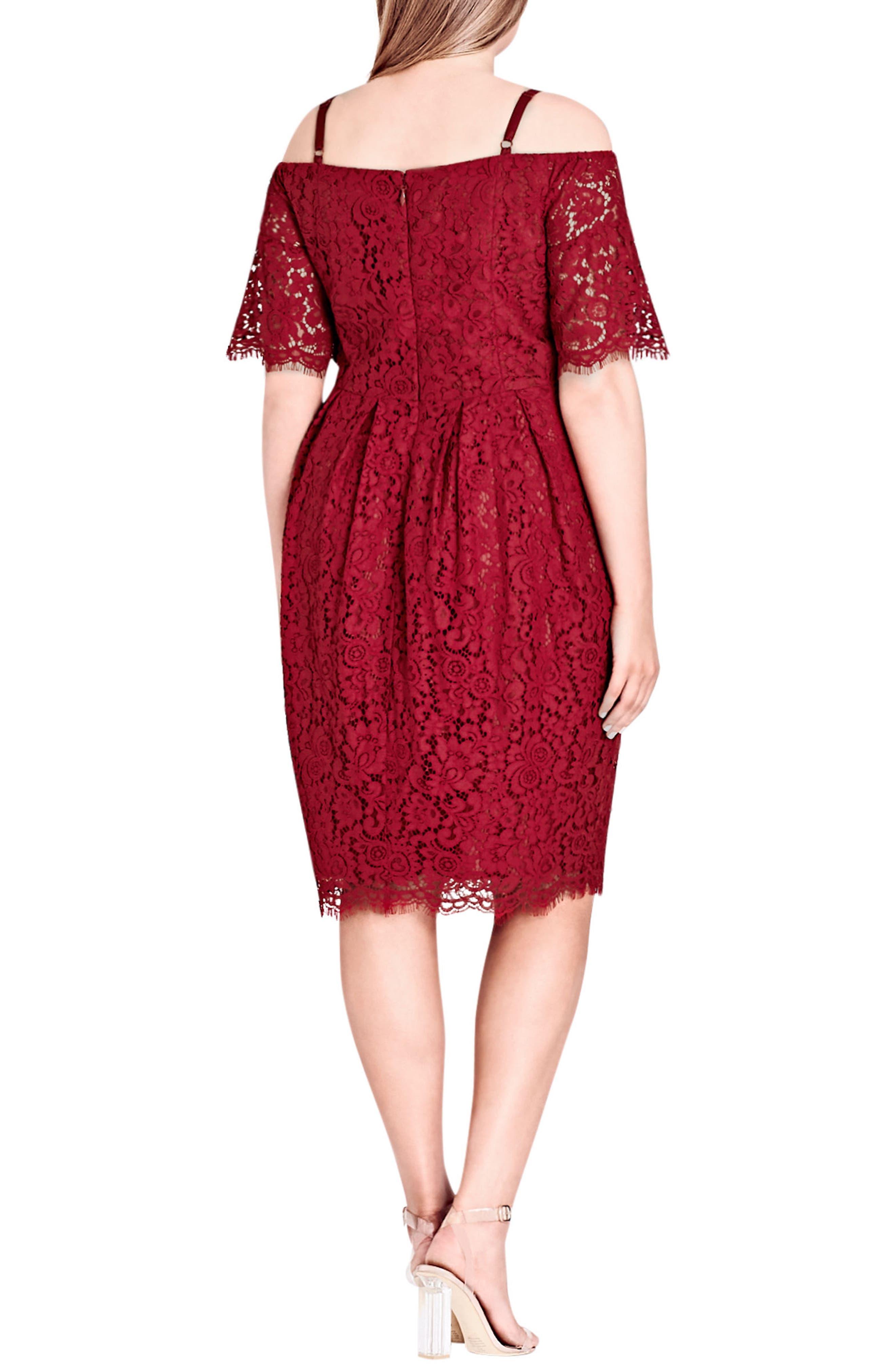 Alternate Image 2  - City Chic Amour Off the Shoulder Lace Sheath Dress (Plus Size)