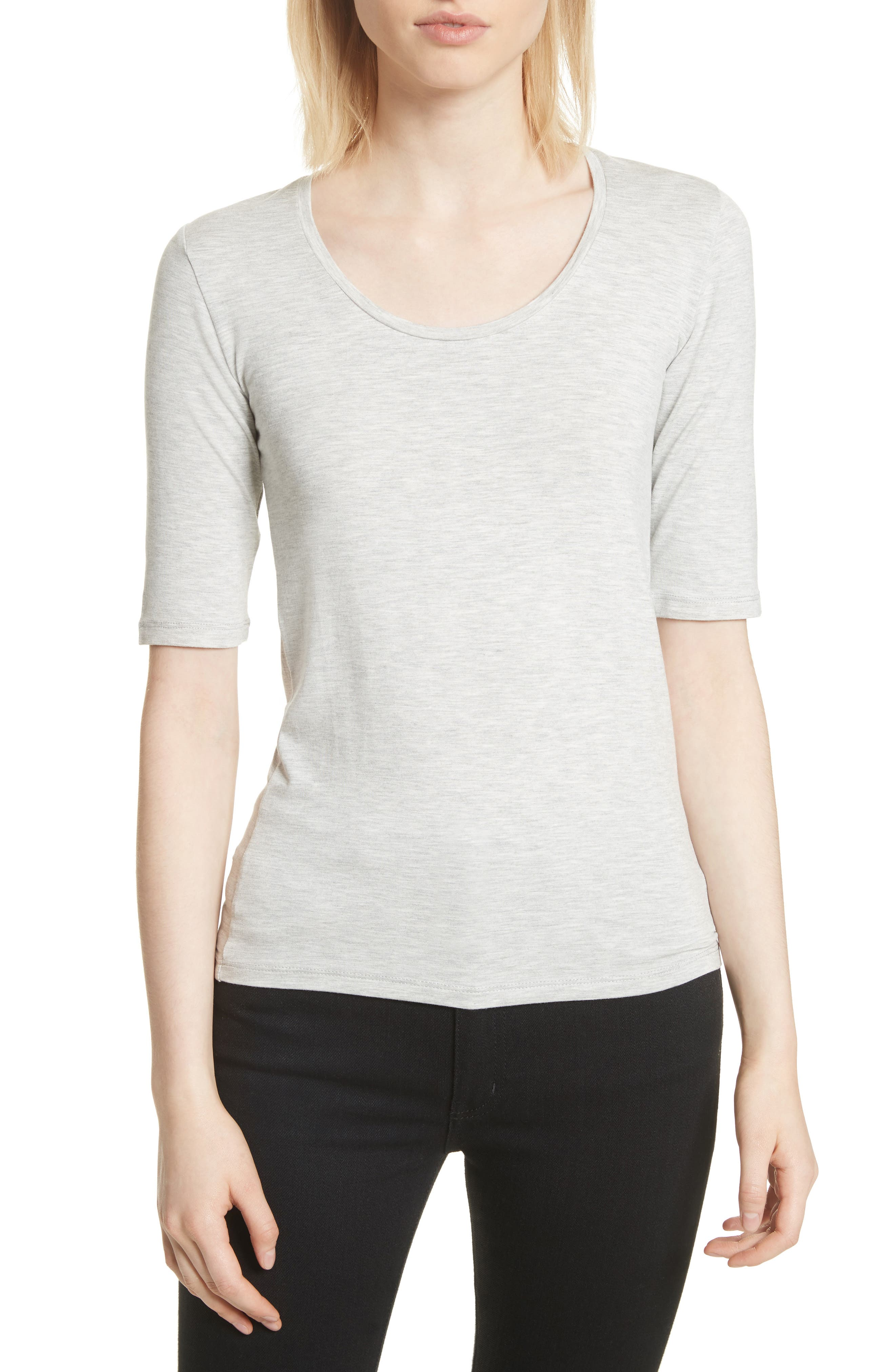 Soft Touch Elbow Sleeve Tee,                             Main thumbnail 1, color,                             Nacre Chine