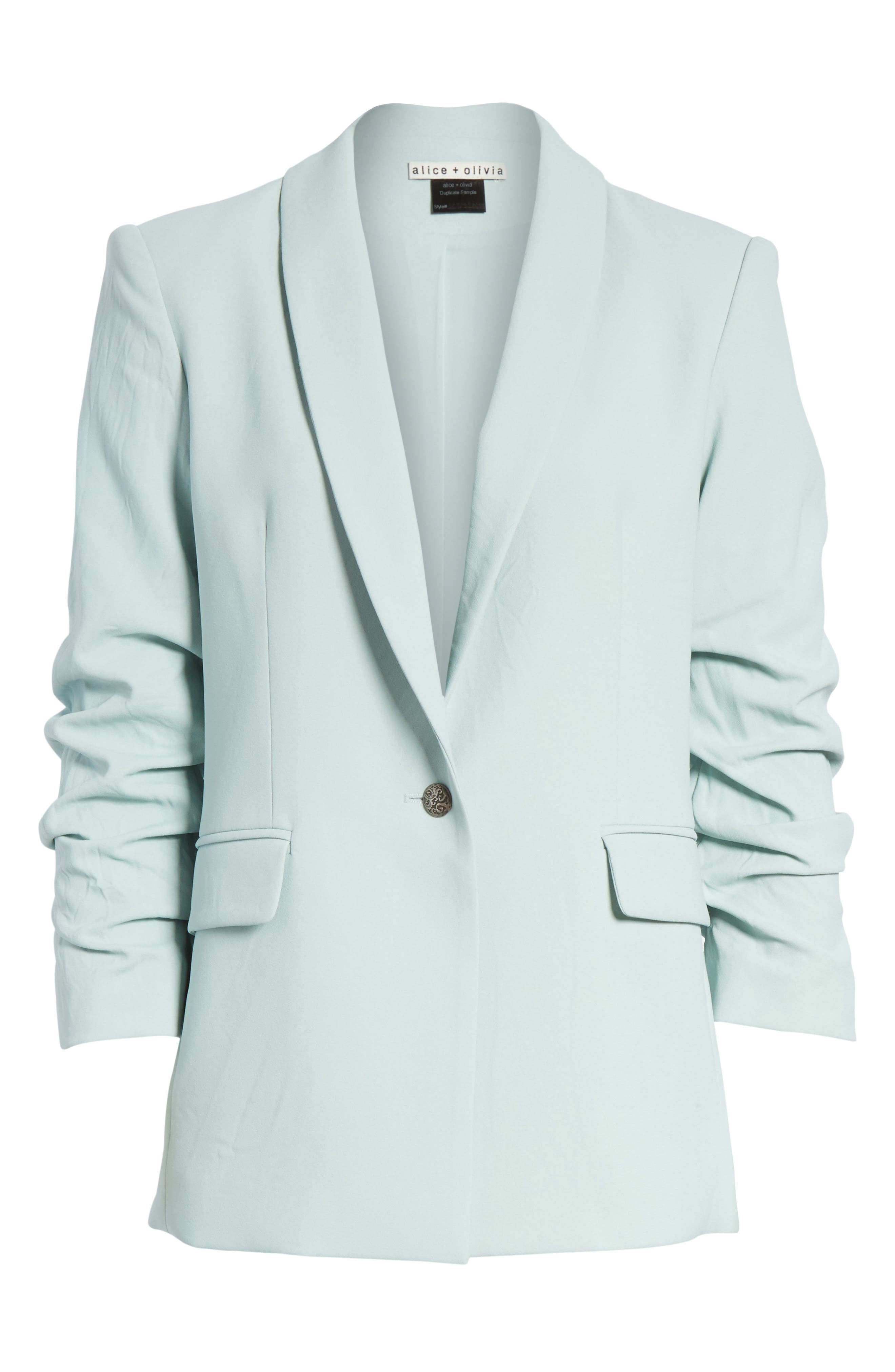 Ruched Sleeve Blazer,                             Alternate thumbnail 6, color,                             Light Dusty Aqua