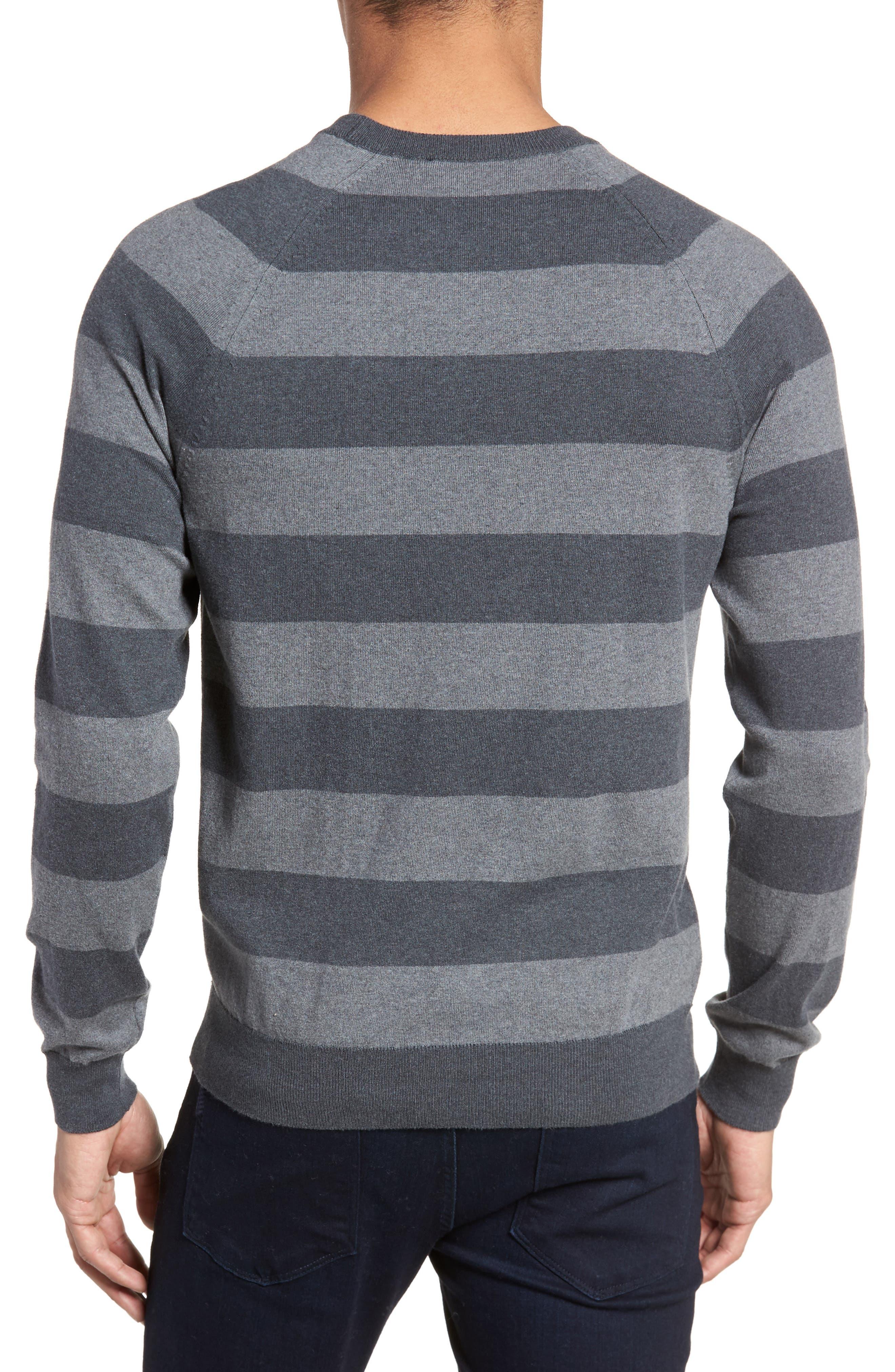 Stripe Stretch Cotton Sweater,                             Alternate thumbnail 2, color,                             Mid Grey/ Charcoal Melange