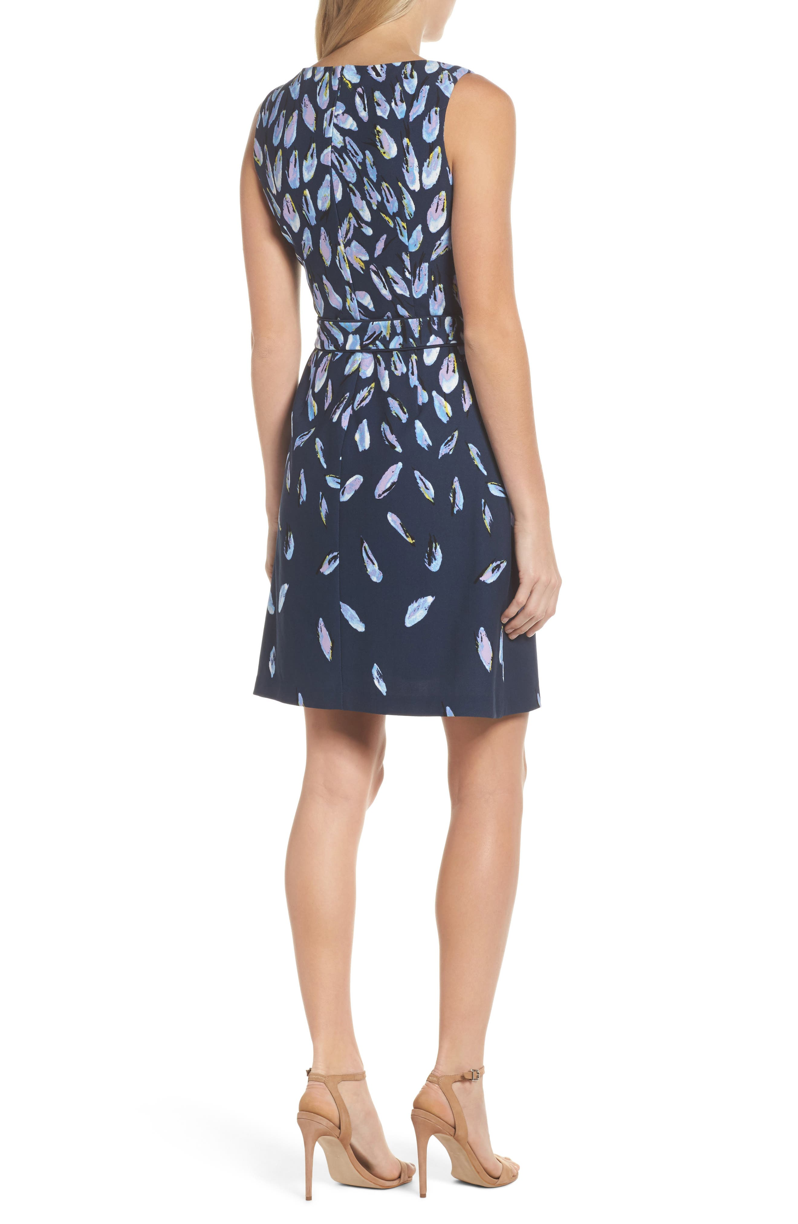 Print Fit & Flare Dress,                             Alternate thumbnail 2, color,                             Navy Multi