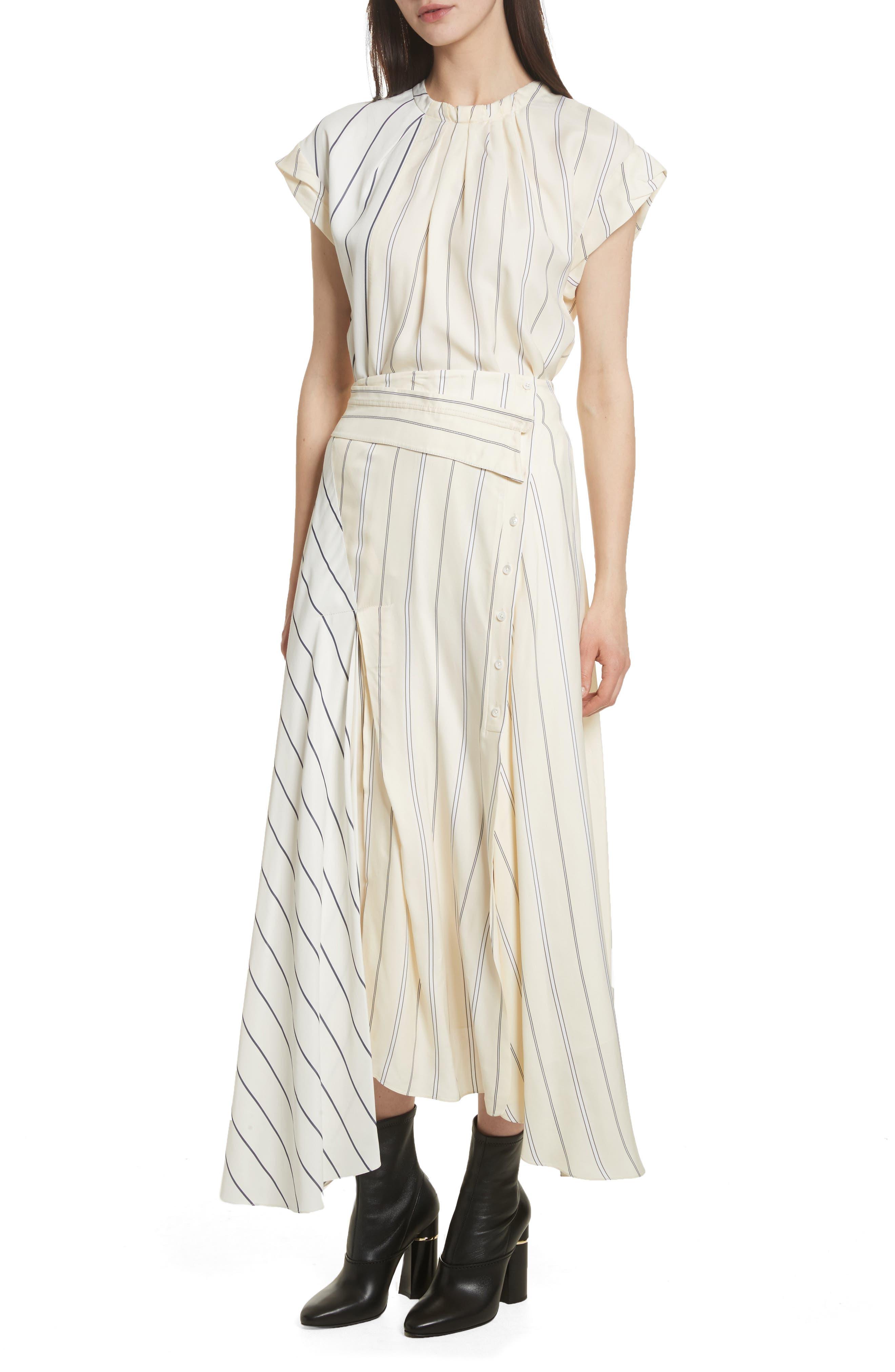 Mixed Stripe Asymmetrical Skirt,                             Alternate thumbnail 7, color,                             Ivory/ Black