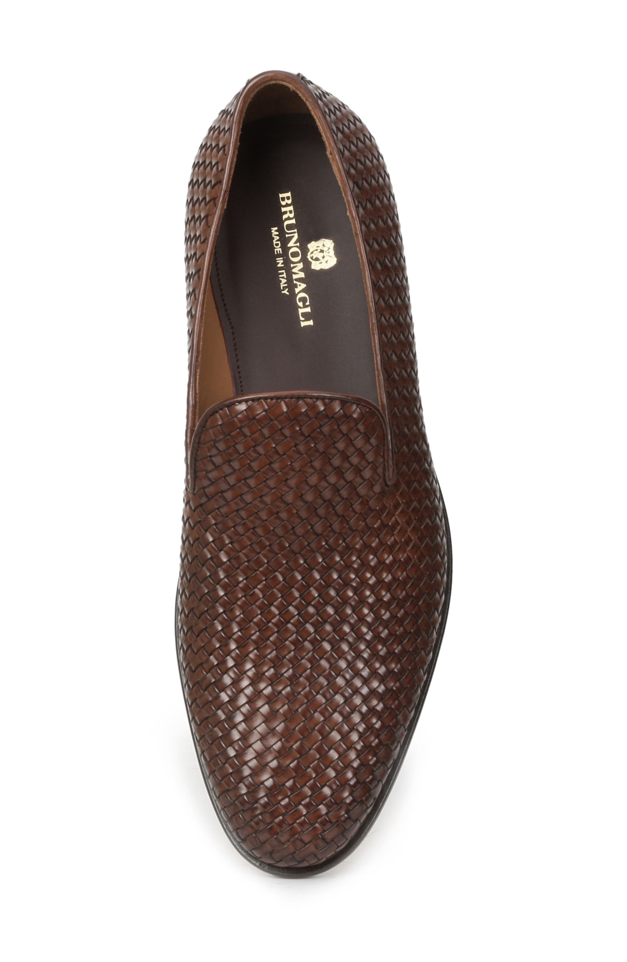 Picasso Woven Venetian Loafer,                             Alternate thumbnail 5, color,                             Cognac