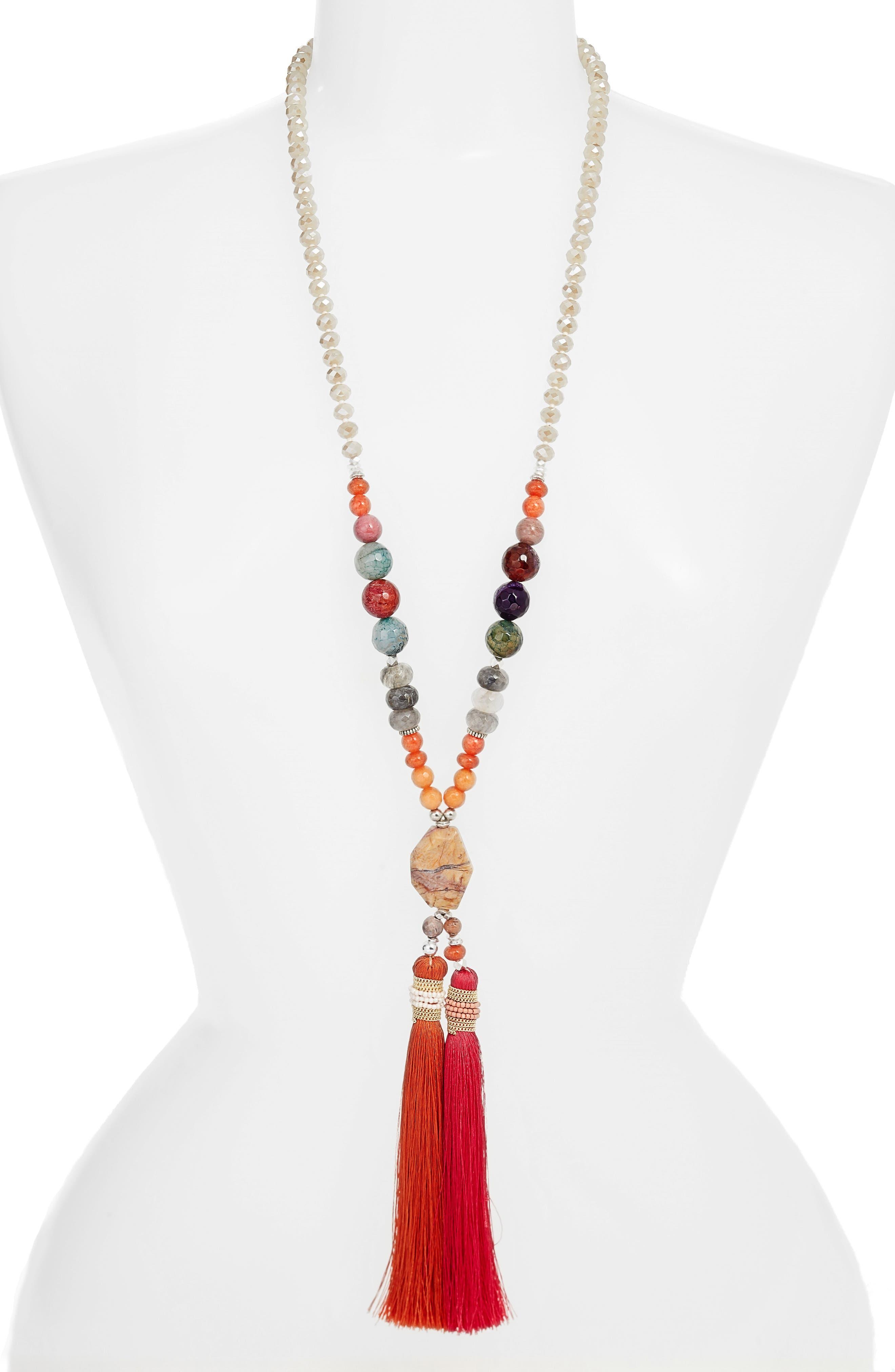 Long Tassel Jasper Pendant Necklace,                         Main,                         color, Orange