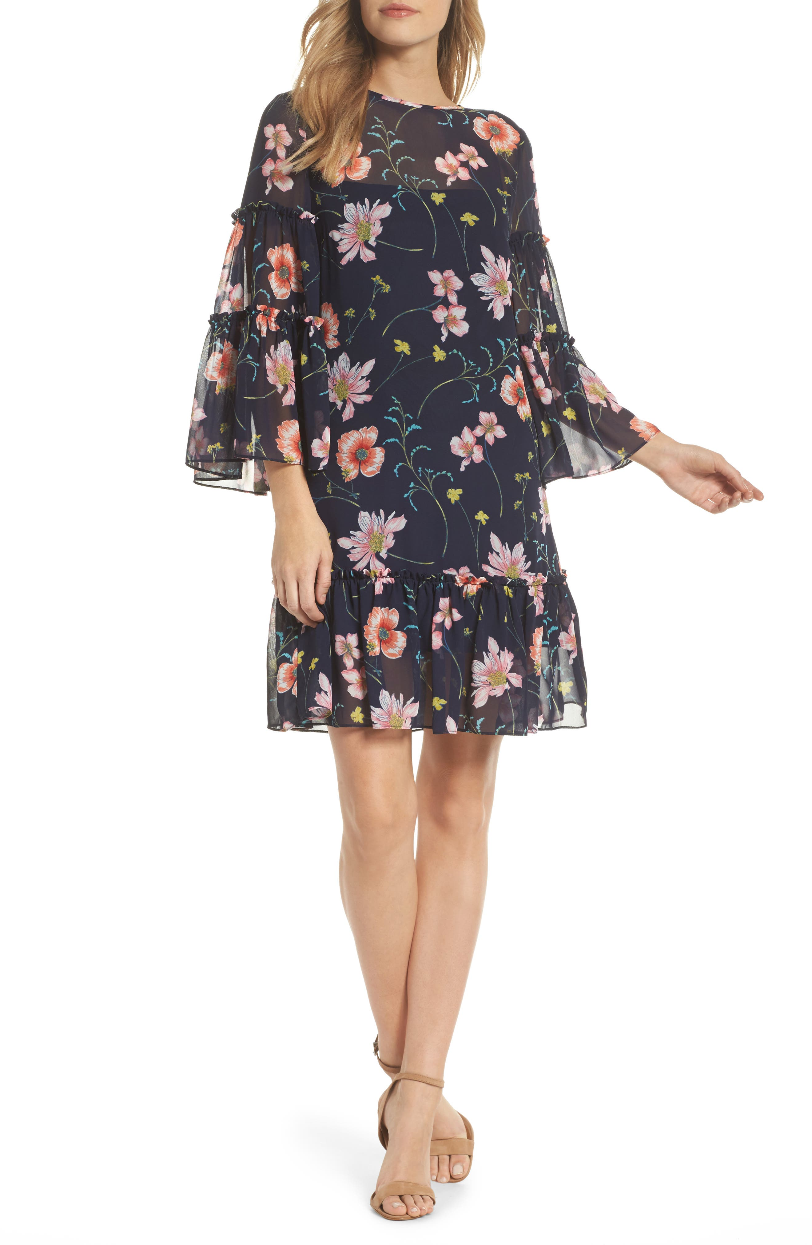 Bell Sleeve Dress,                         Main,                         color, Navy