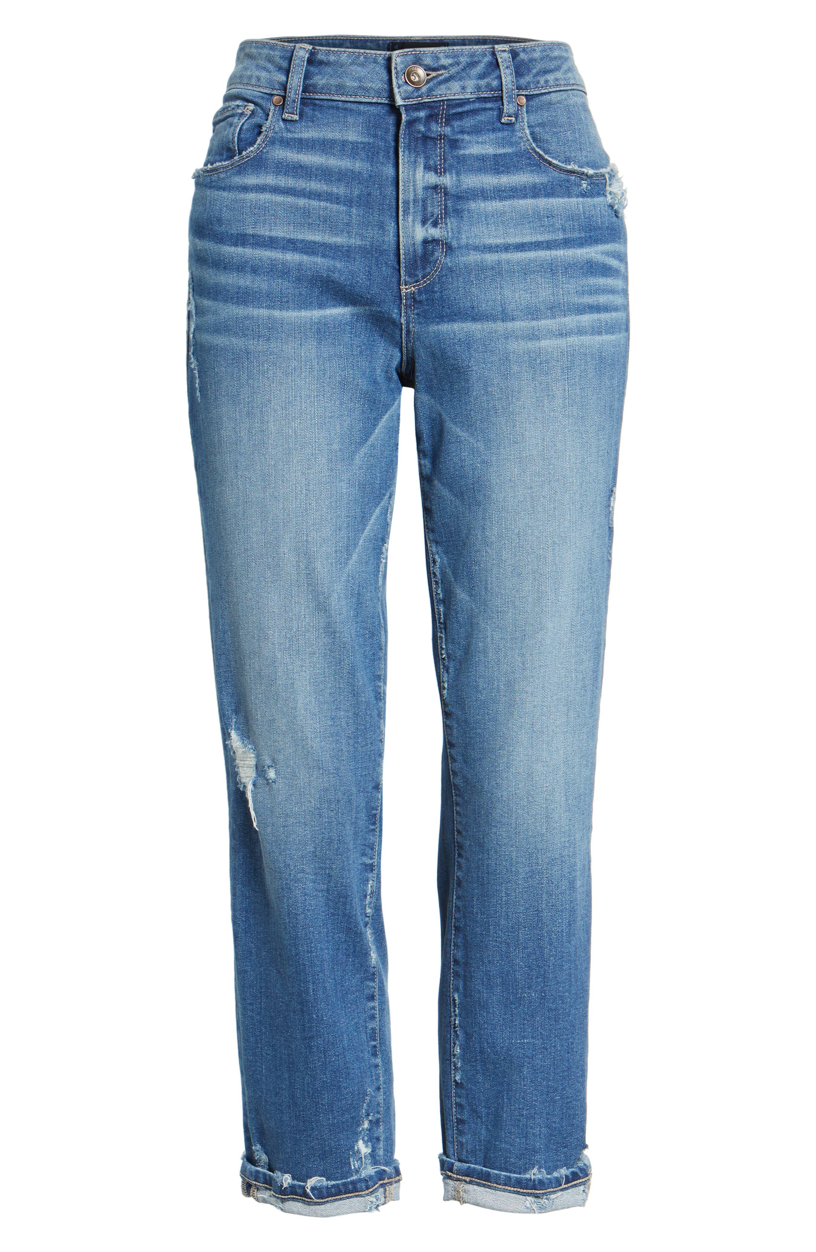Jimmy Jimmy High Waist Crop Boyfriend Jeans,                             Alternate thumbnail 7, color,                             Ludlow Destructed