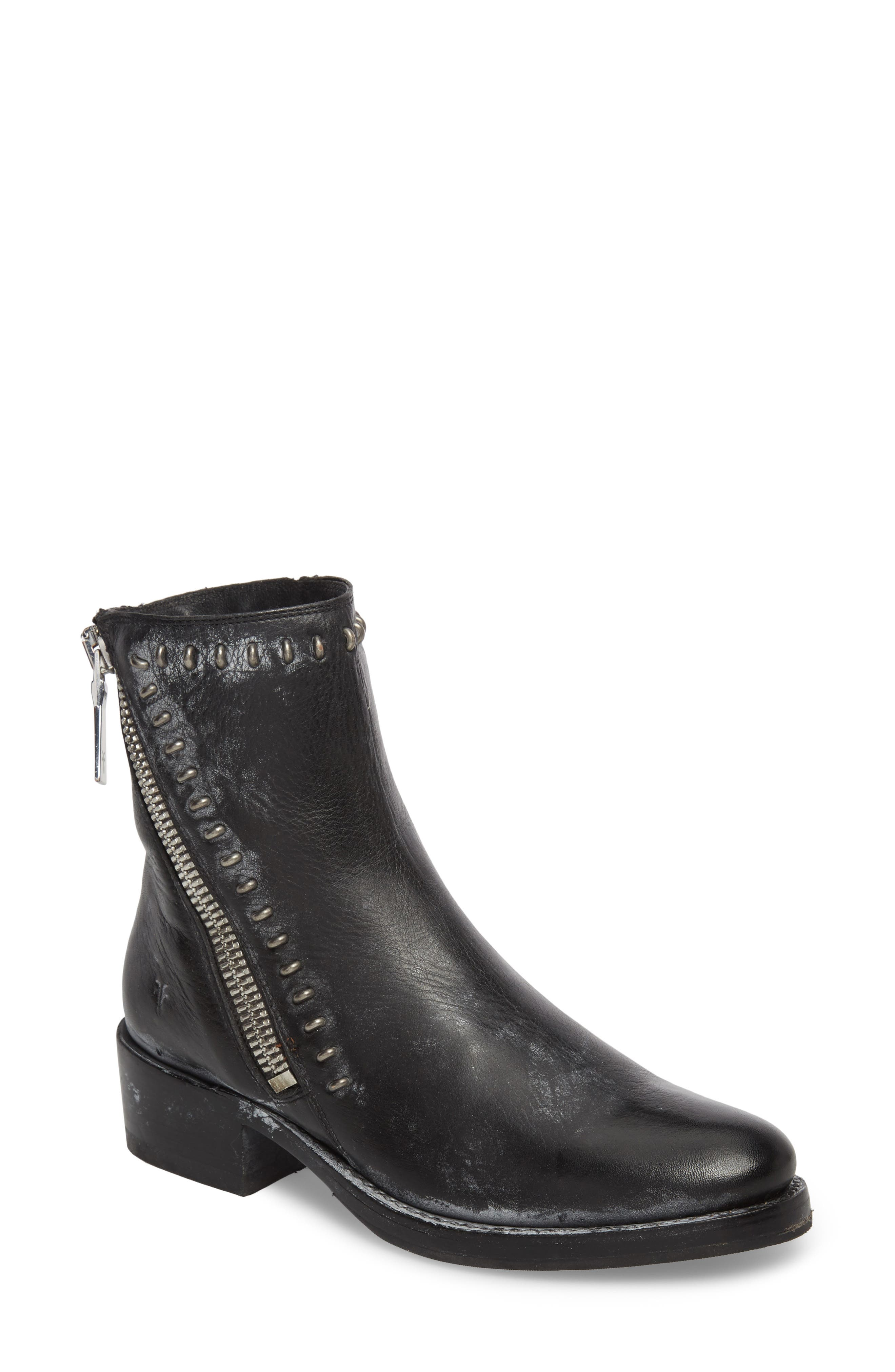Demi Rebel Zip Bootie,                         Main,                         color, Black