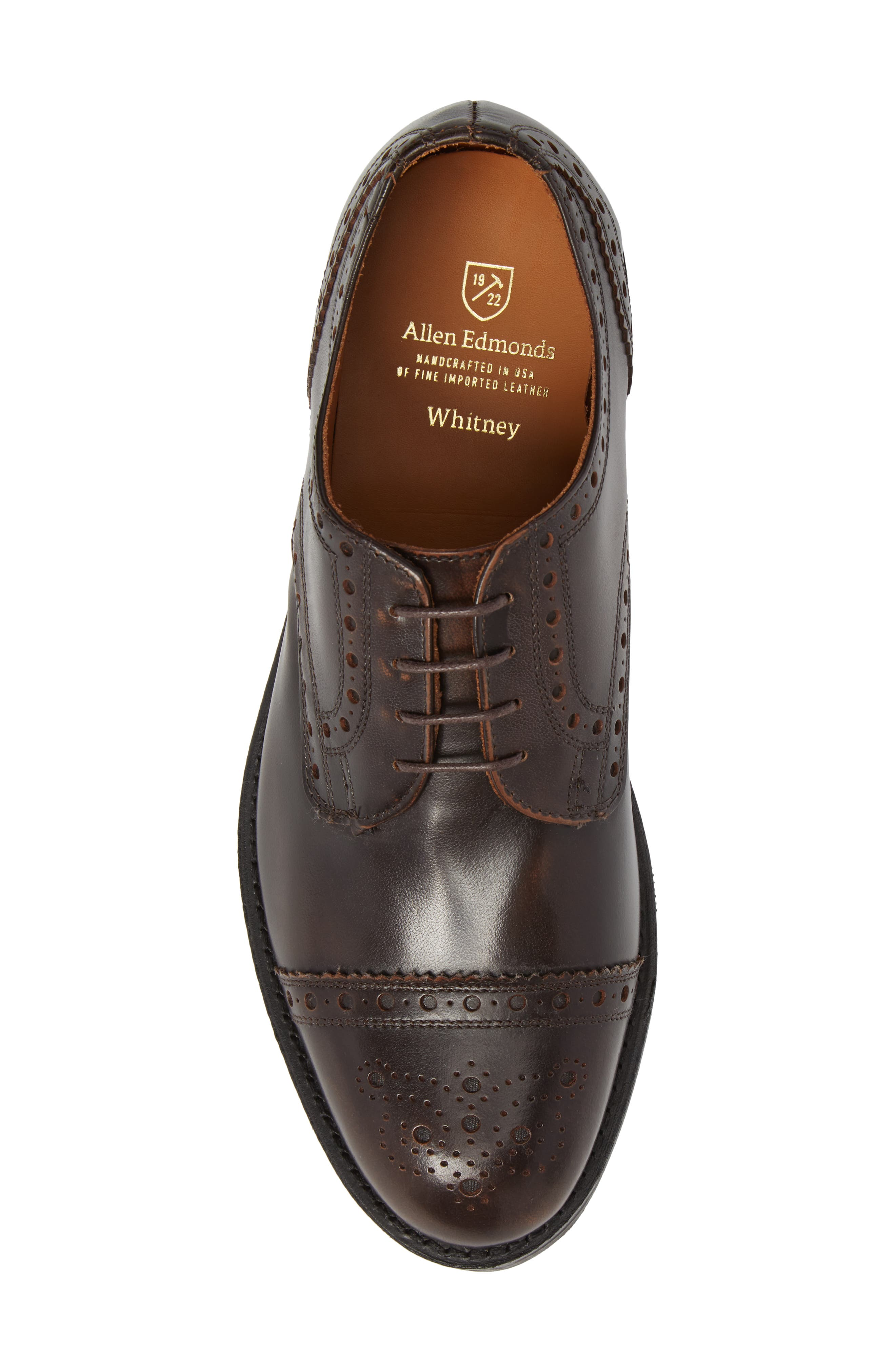 Whitney Medallion Toe Derby,                             Alternate thumbnail 5, color,                             Brown Leather