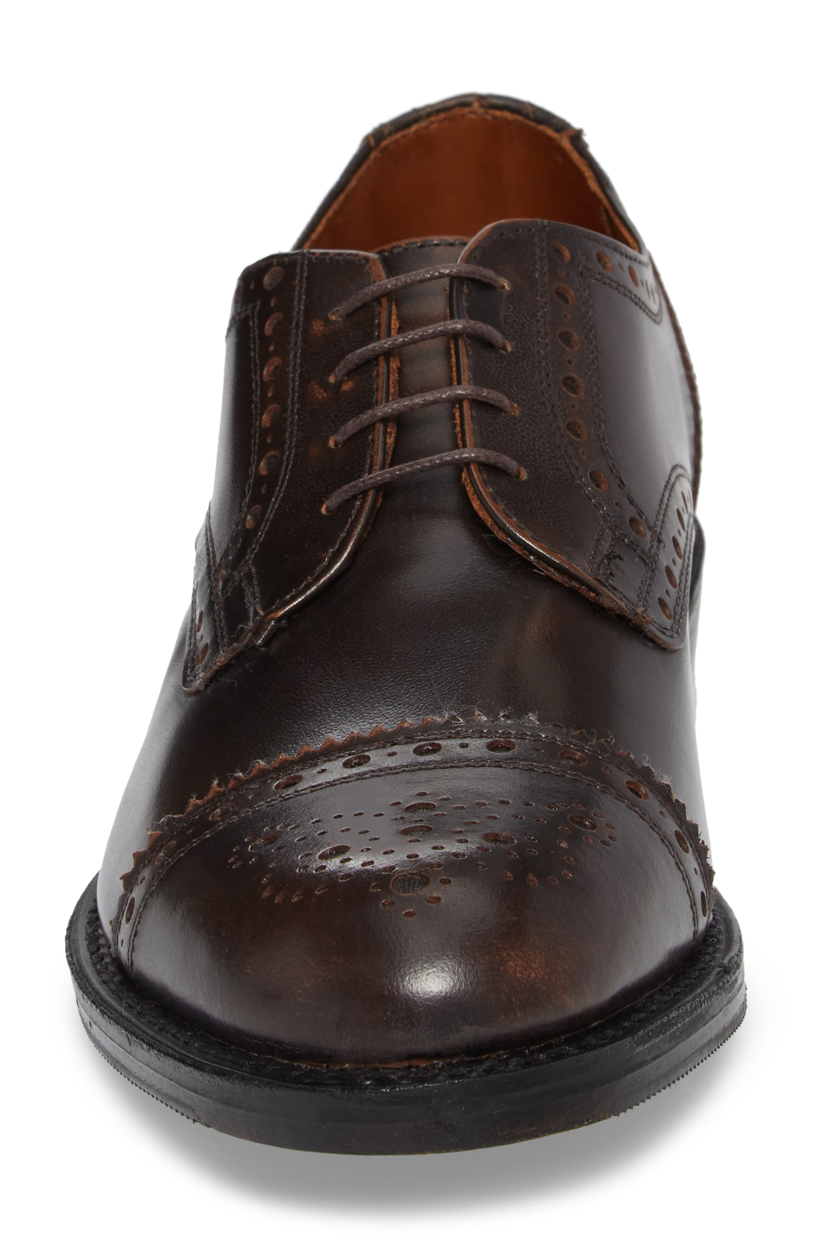 Whitney Medallion Toe Derby,                             Alternate thumbnail 4, color,                             Brown Leather