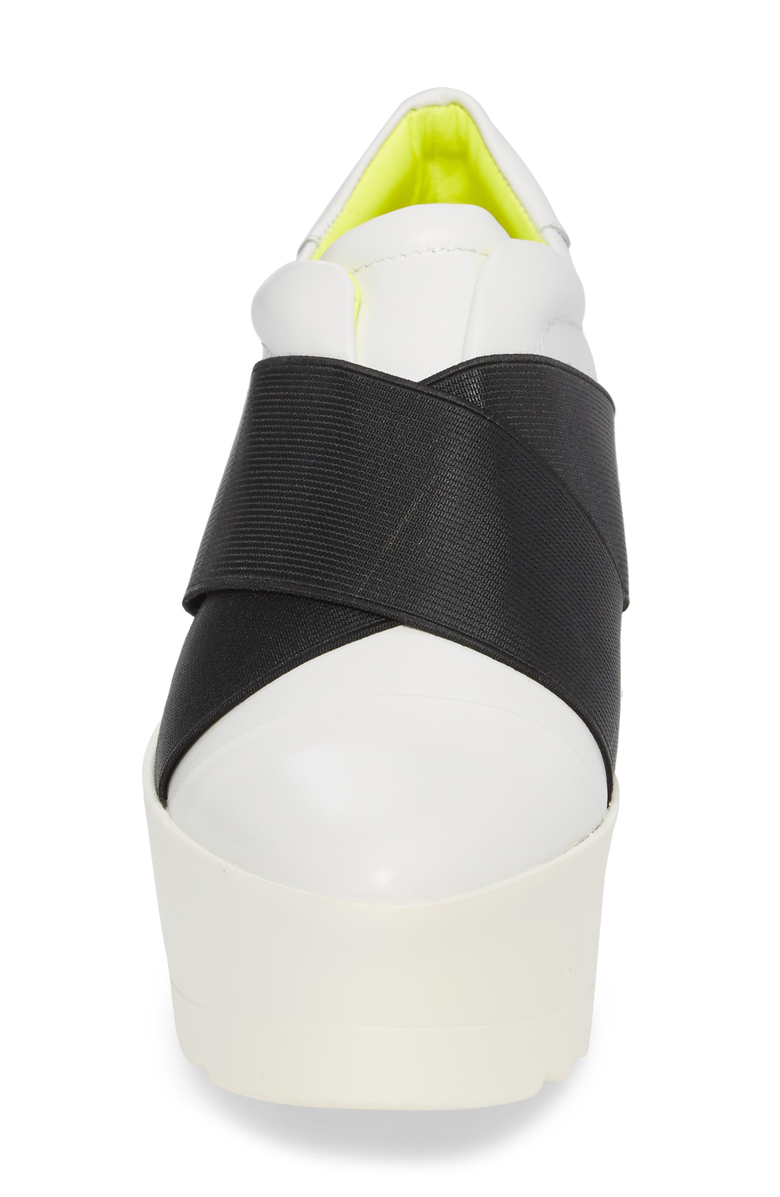 Tasha Platform Slip-On Sneaker,                             Alternate thumbnail 4, color,                             White Leather