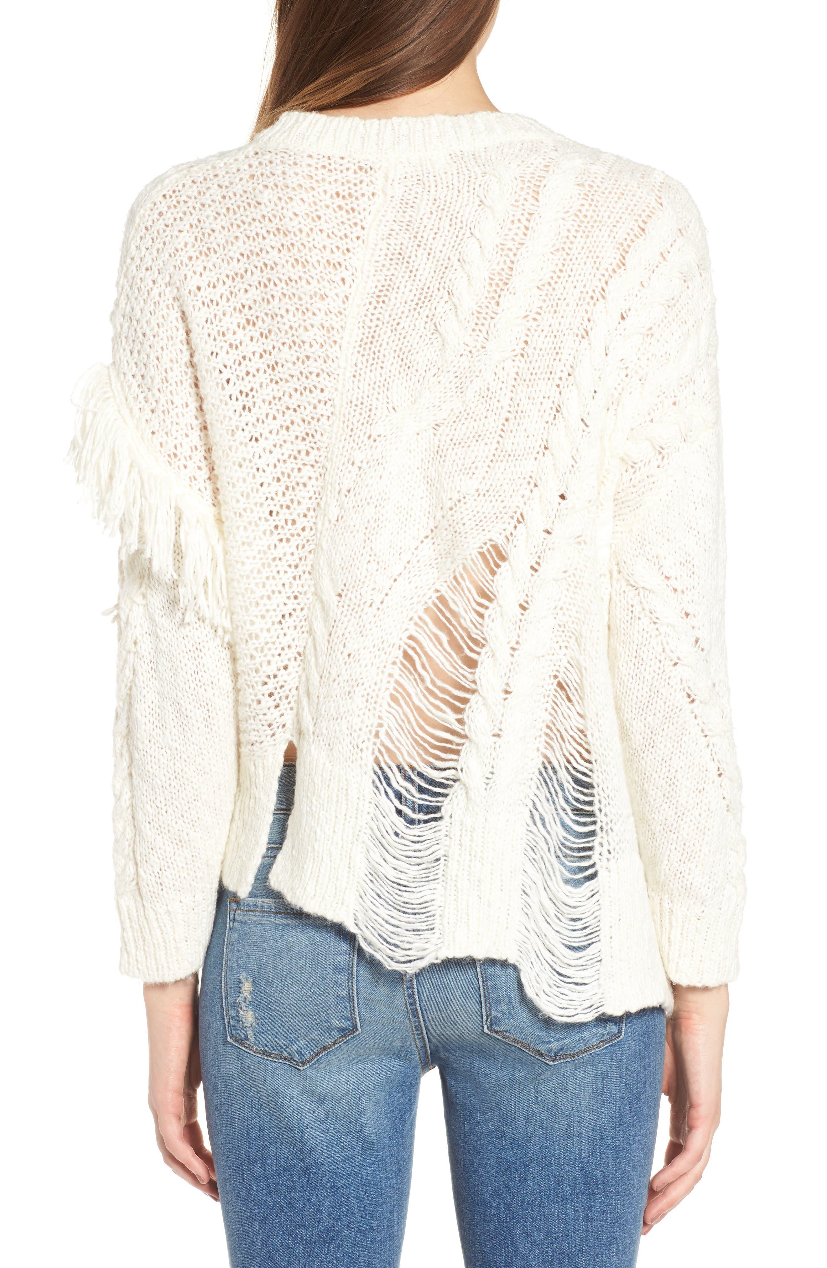 Mix Stitch Sweater,                             Alternate thumbnail 2, color,                             Ivory Egret