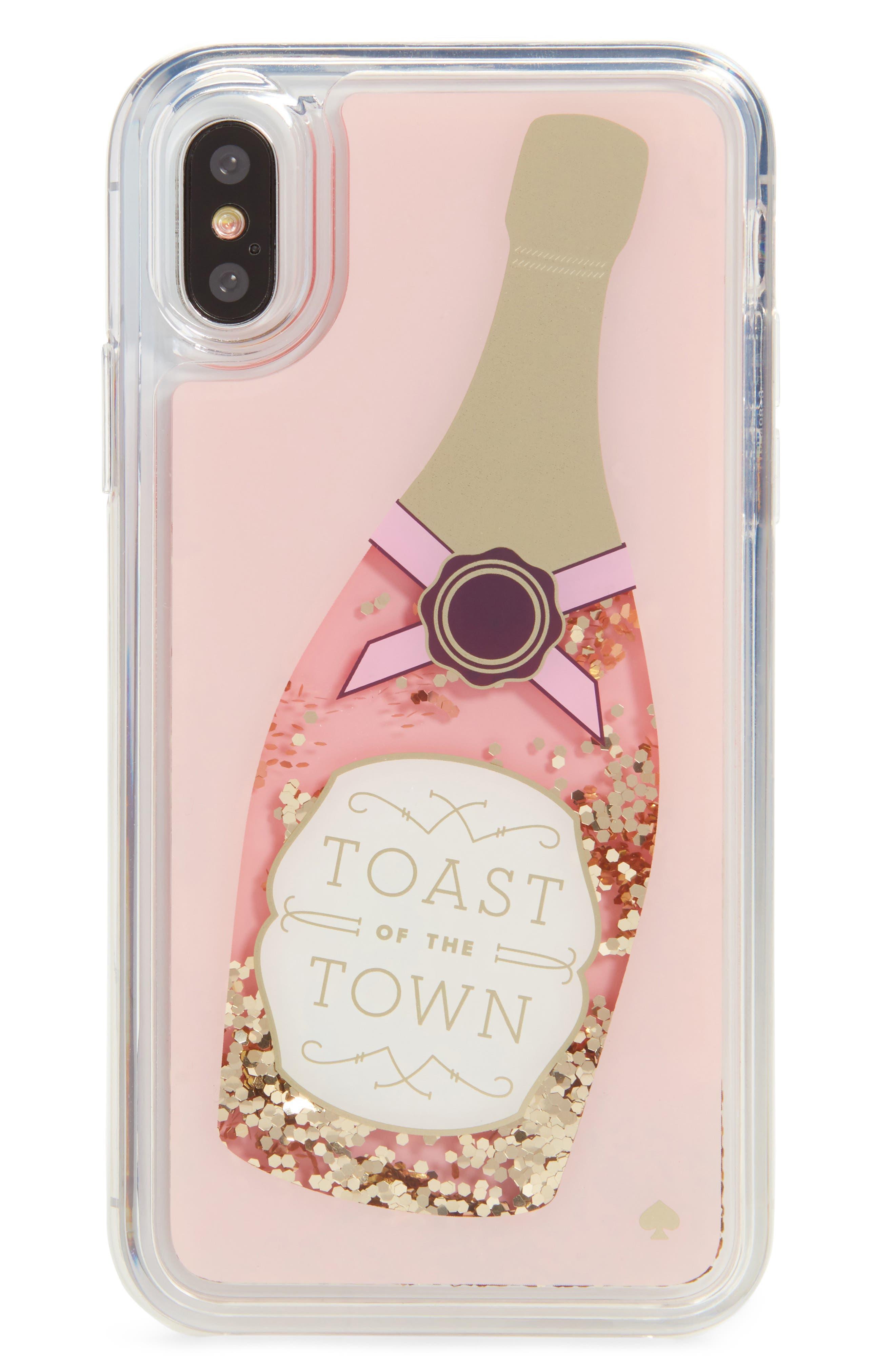 Main Image - kate spade new york cheers glitter iPhone X case