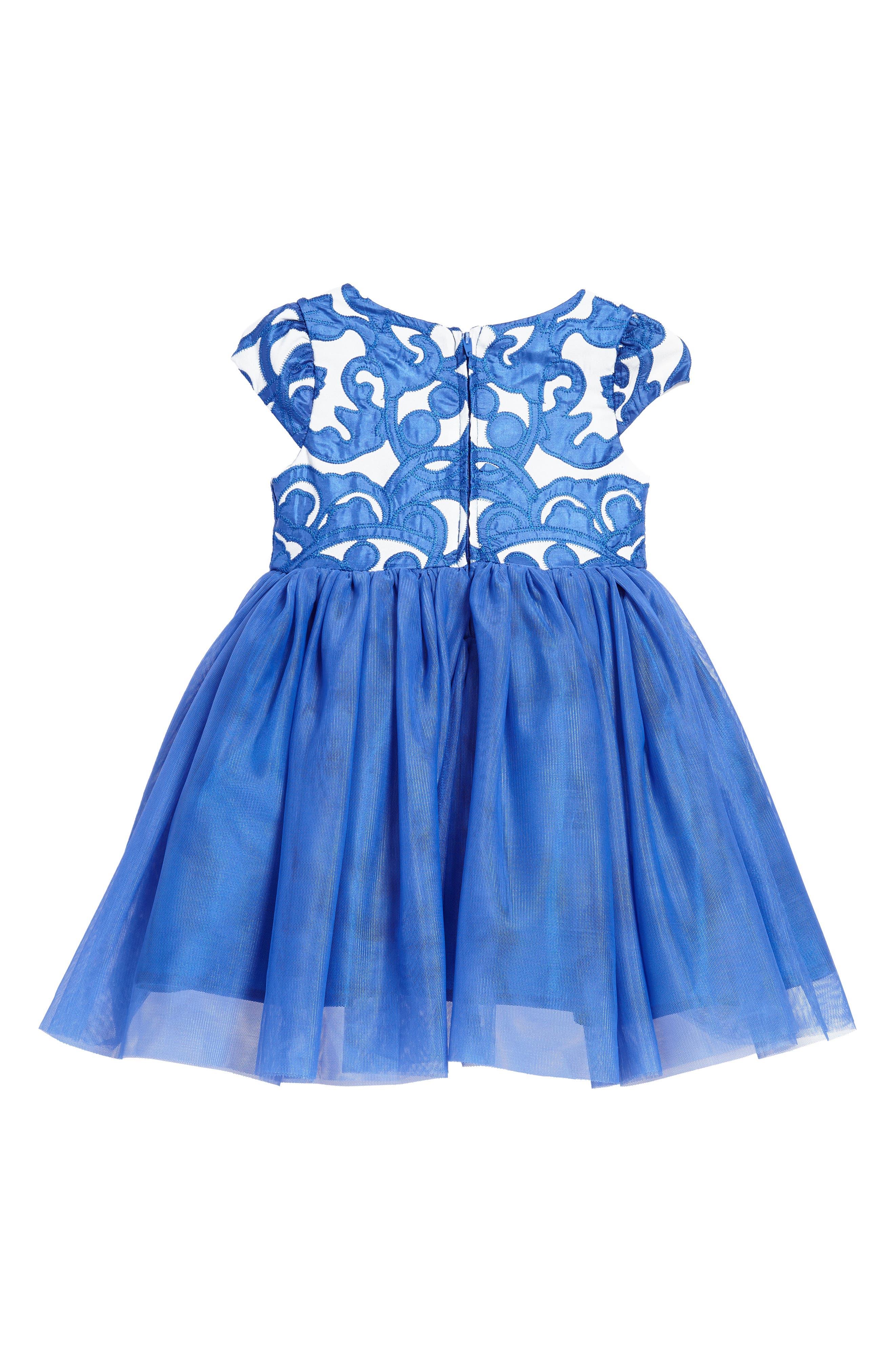Appliqué Tulle Dress,                             Alternate thumbnail 2, color,                             Royal