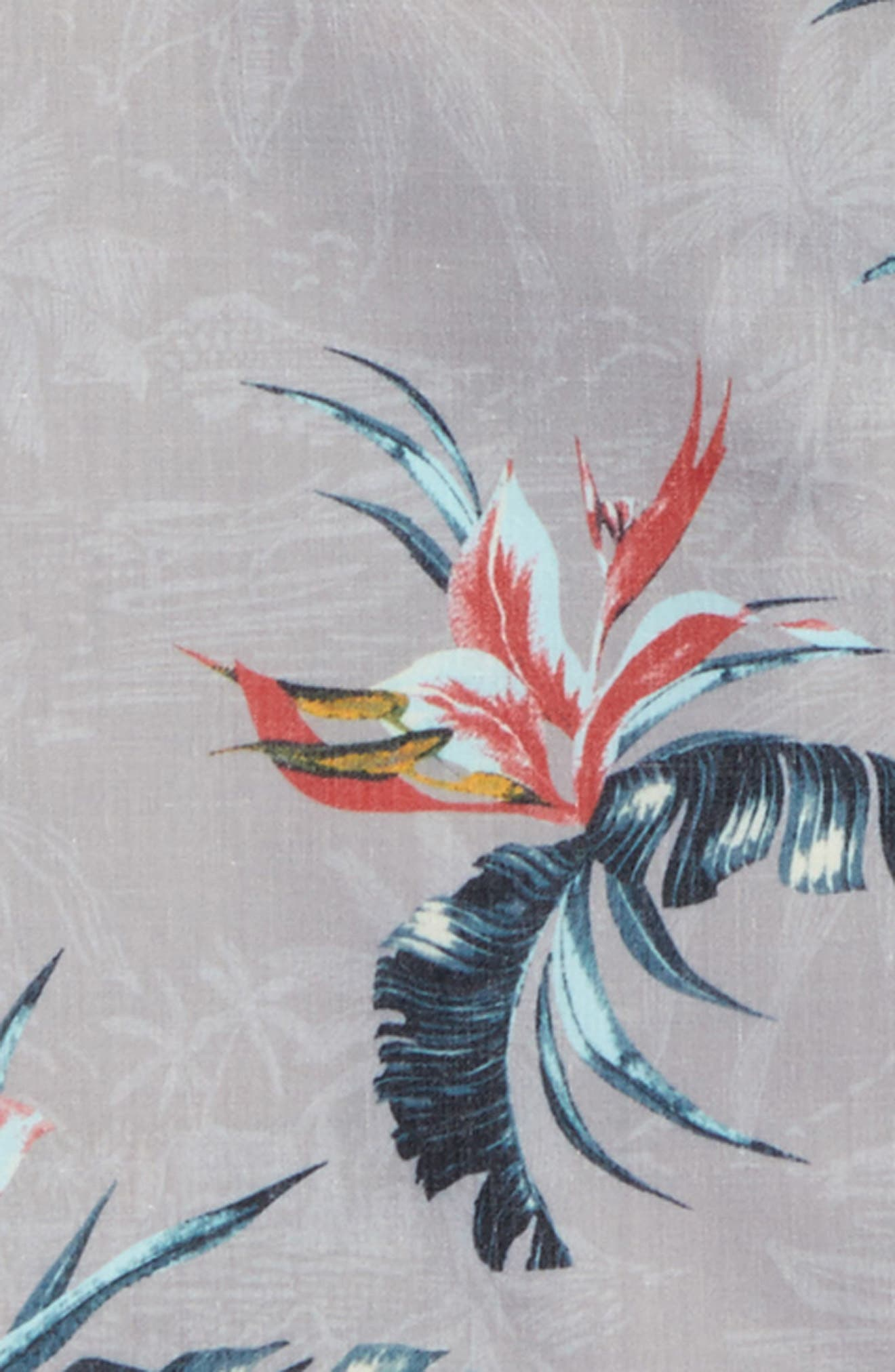 Islander Floral Print Woven Shirt,                             Alternate thumbnail 3, color,                             Light Grey