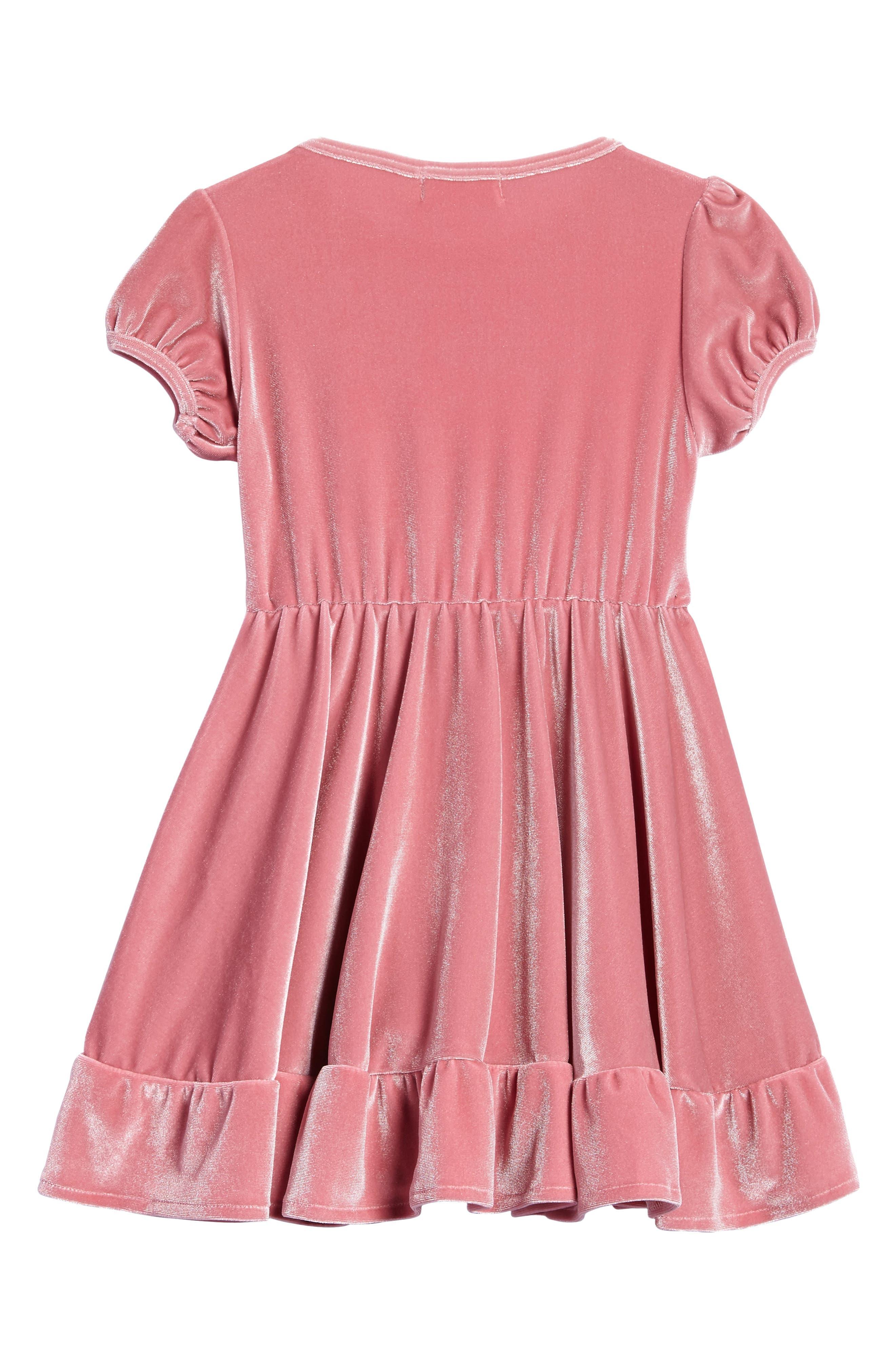 North Star Velvet Dress,                             Alternate thumbnail 2, color,                             Pomegranate