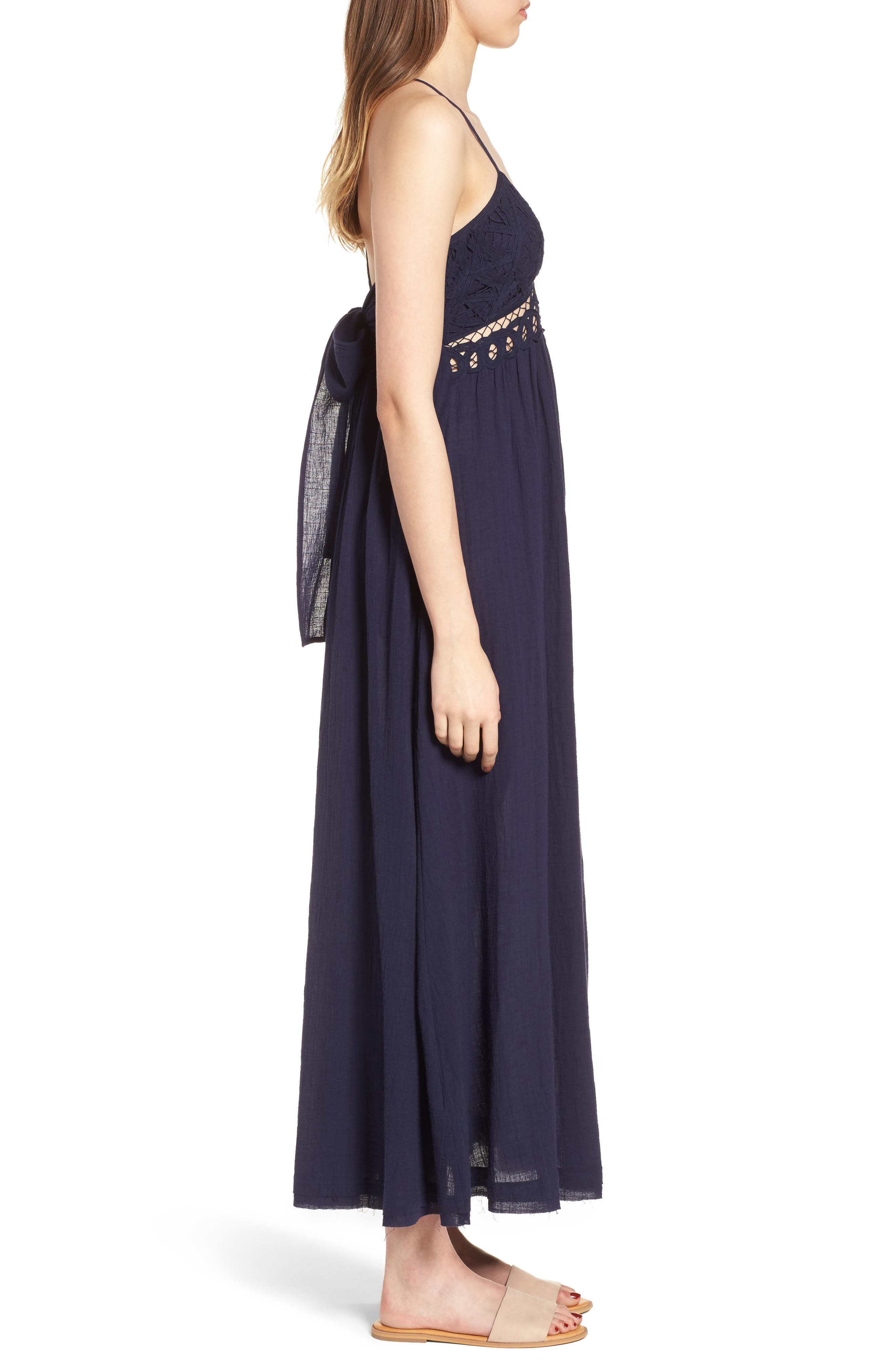 Lace Inset Empire Waist Maxi Dress,                             Alternate thumbnail 4, color,                             Navy