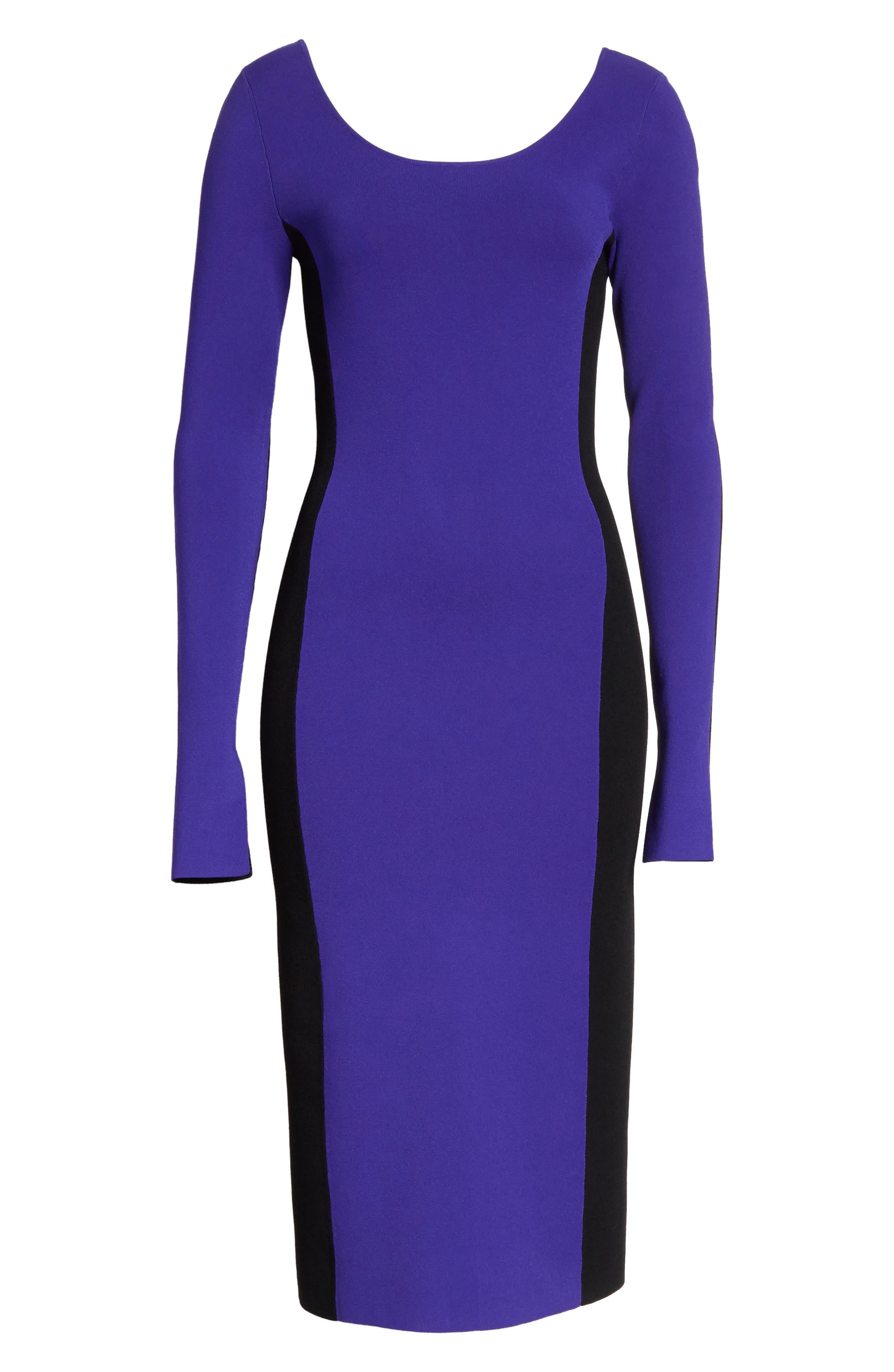 Colorblock Knit Body-Con Dress,                             Alternate thumbnail 6, color,                             Electric Blue/ Black