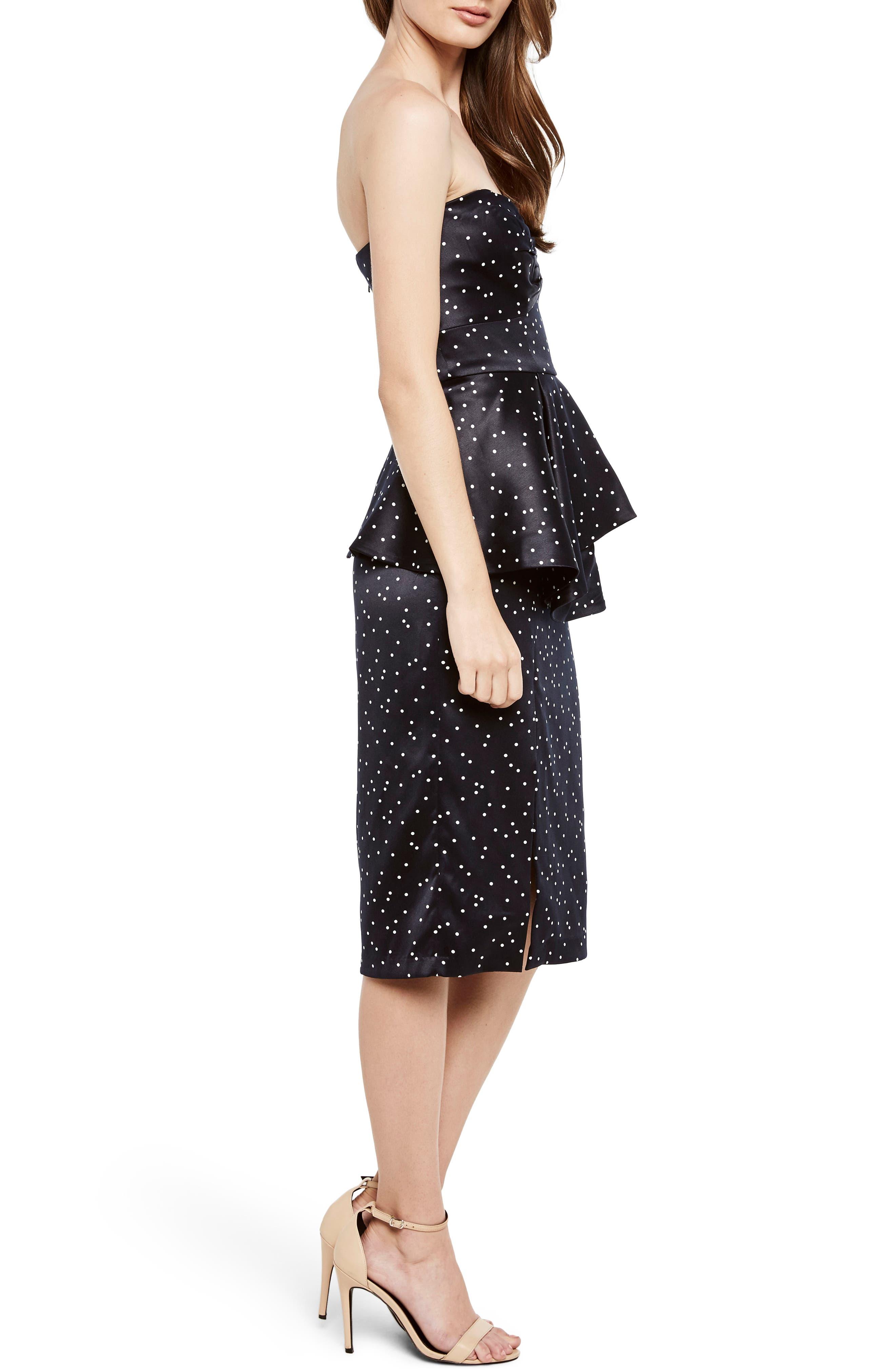 Spot Print Strapless Peplum Dress,                             Alternate thumbnail 3, color,                             Confetti- Navy