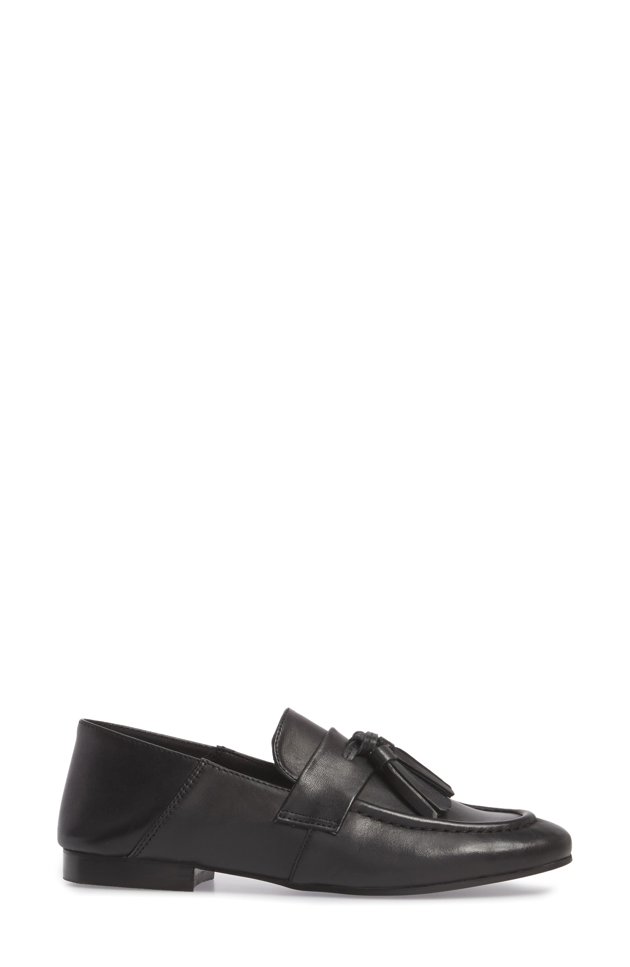 Beck Convertible Tasseled Loafer,                             Alternate thumbnail 3, color,                             Black Leather