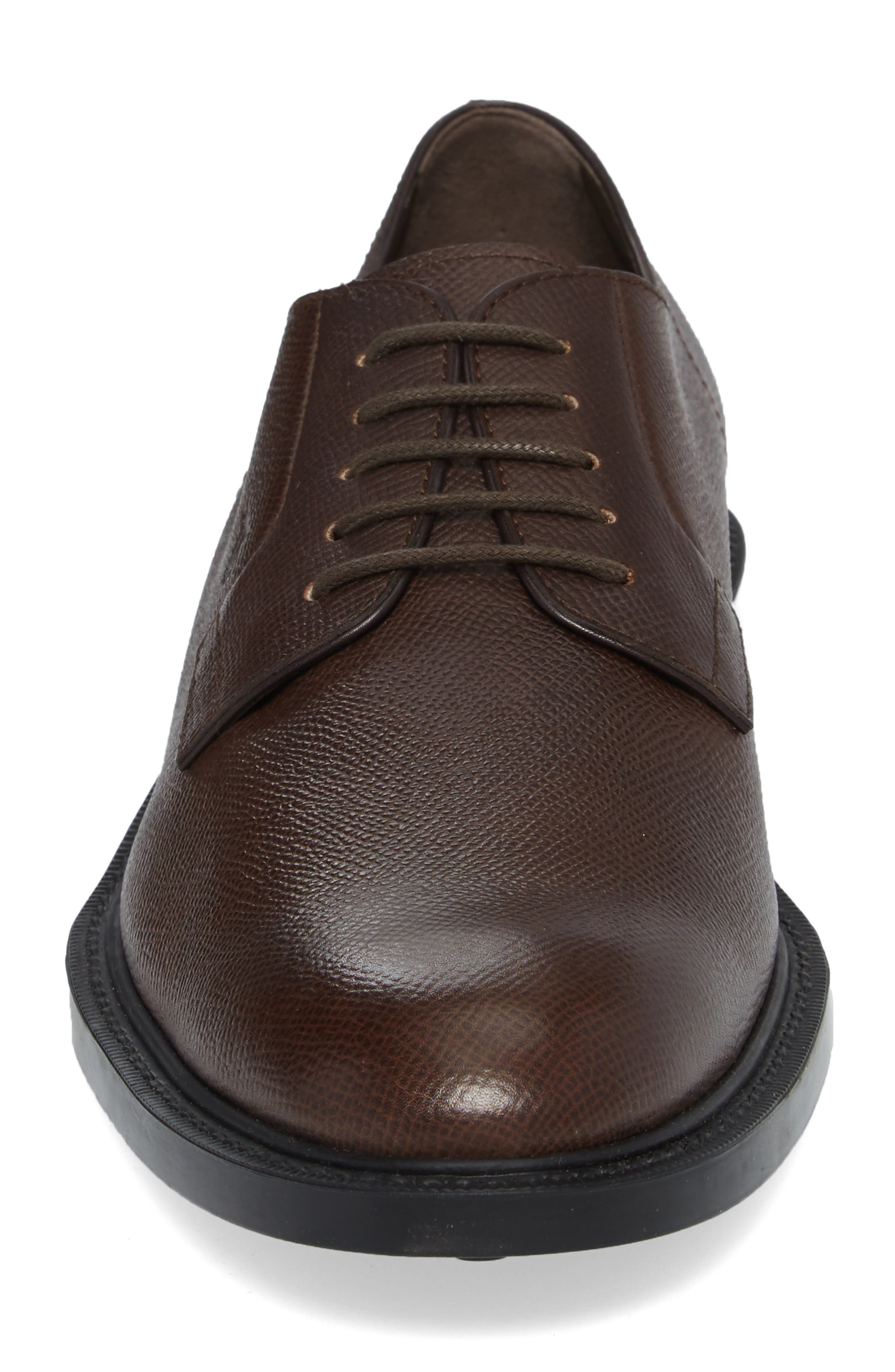 Clean Plain Toe Derby,                             Alternate thumbnail 4, color,                             Brown Textured Leather