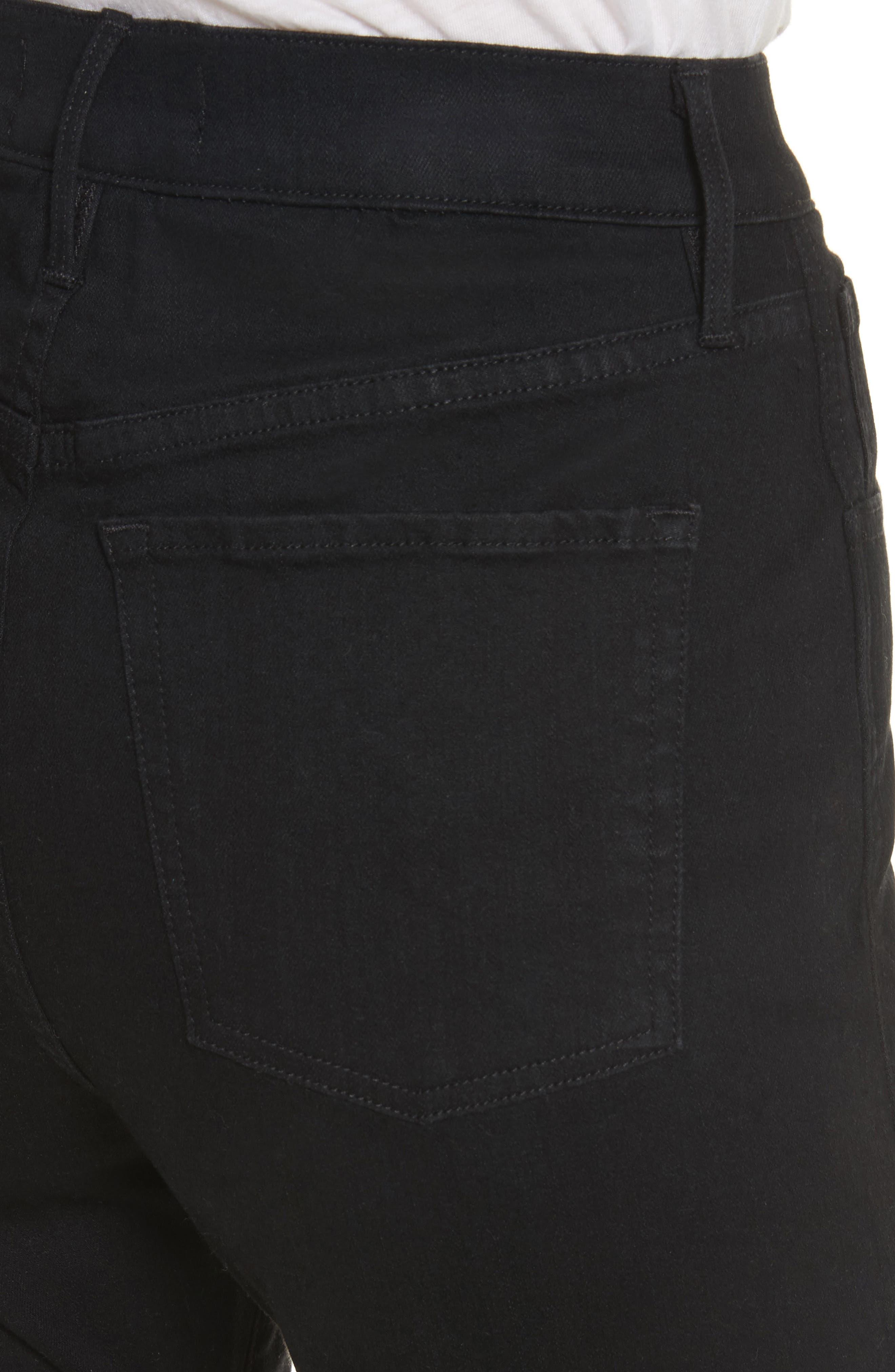 W4 Adeline High Waist Split Flare Jeans,                             Alternate thumbnail 4, color,                             Black No 1