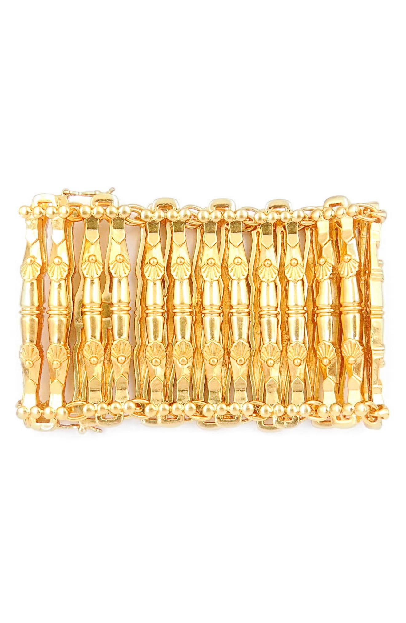 Link Cuff Bracelet,                         Main,                         color, Gold