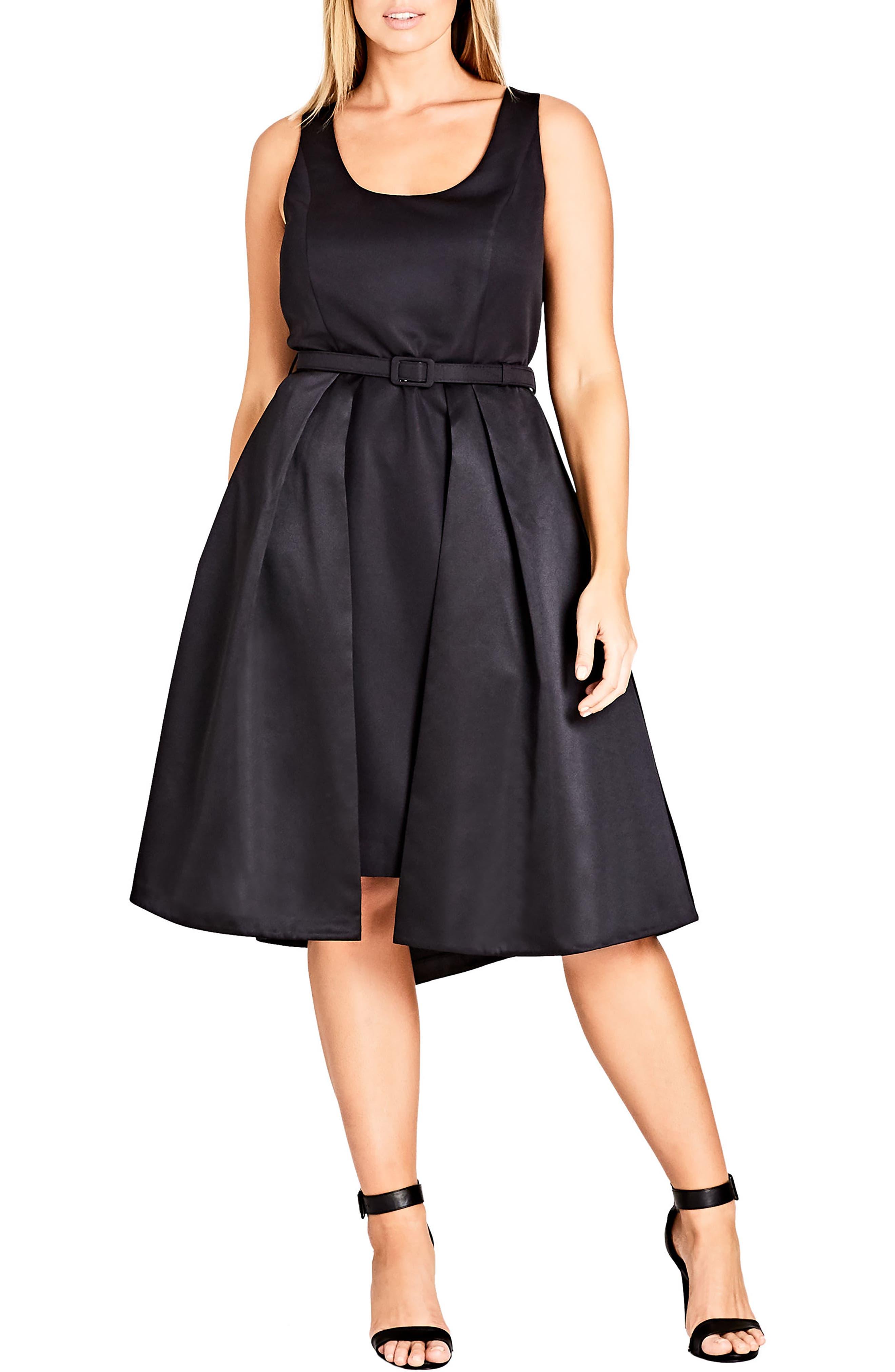 Audrey Fit & Flare Dress,                         Main,                         color, Black