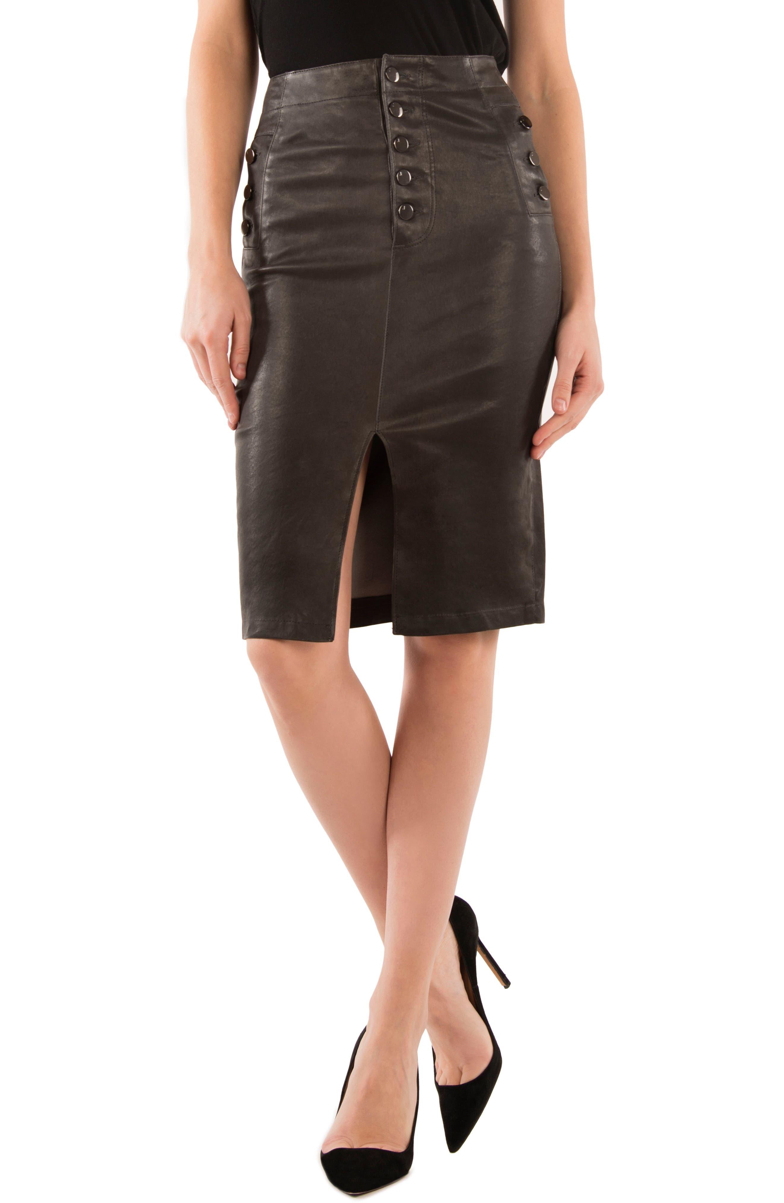 Natasha High Waist Leather Skirt,                             Main thumbnail 1, color,                             Dark Platinum