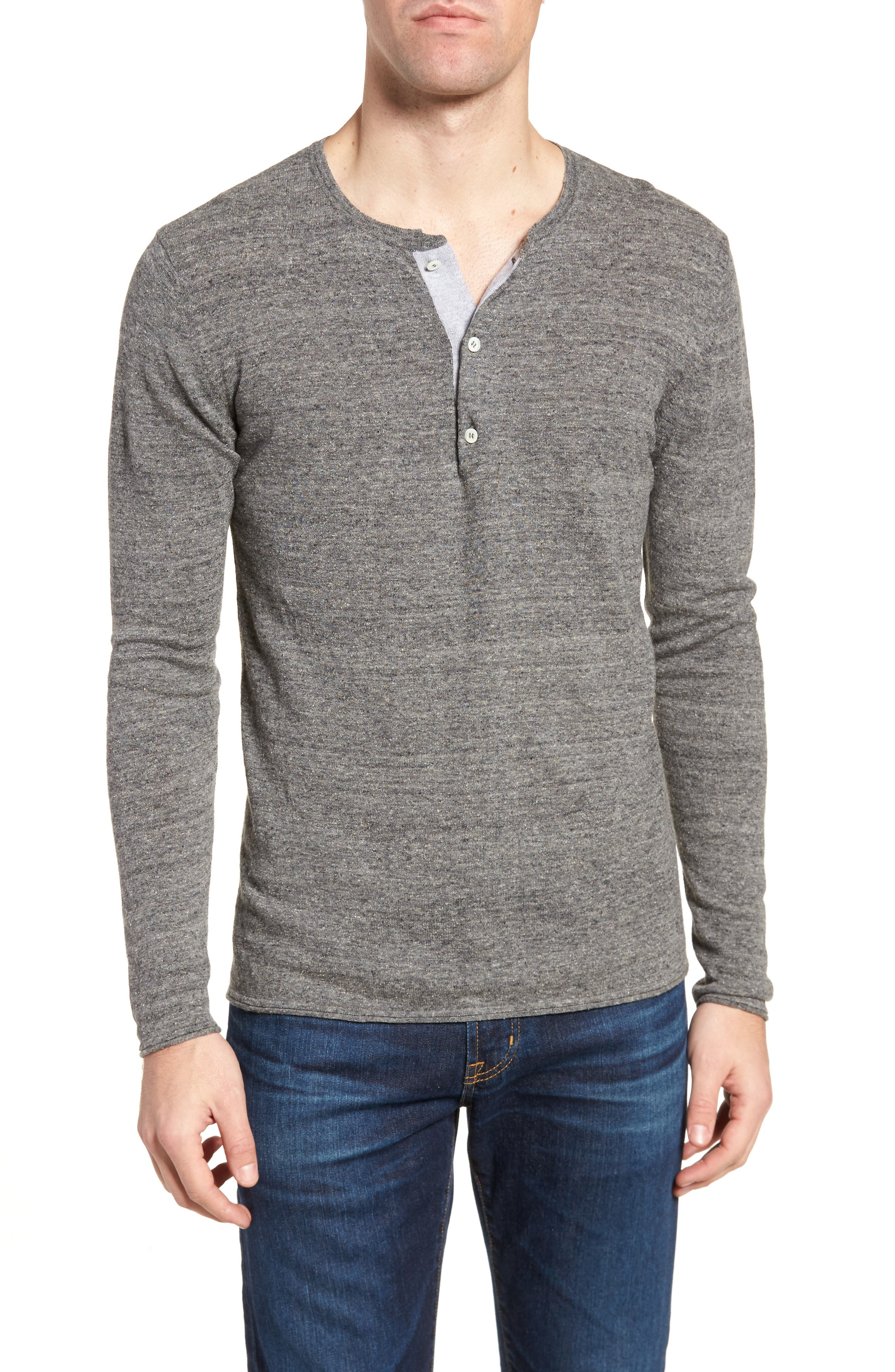 Heirloom Cotton & Cashmere Henley,                             Main thumbnail 1, color,                             Grey