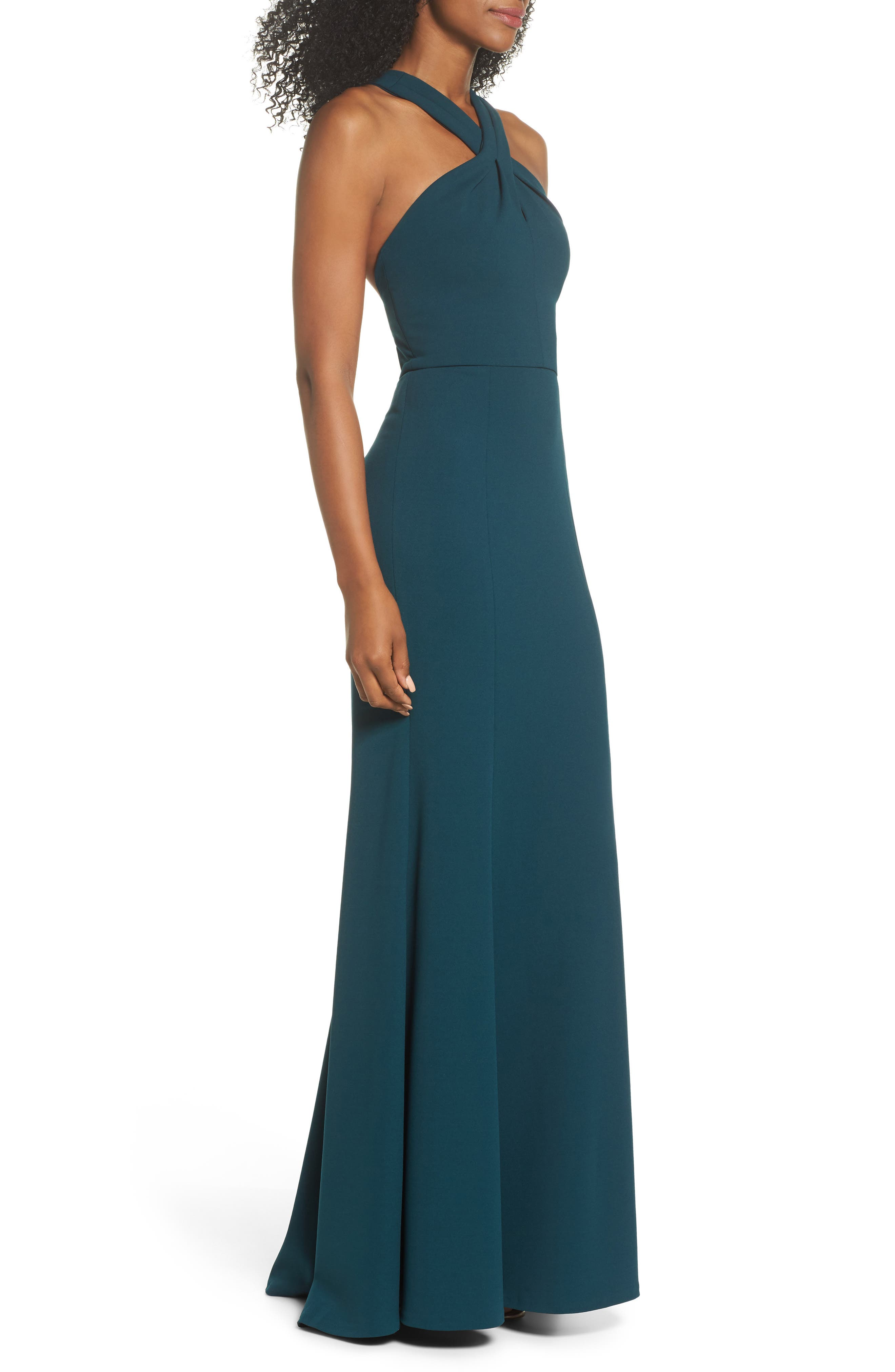 Alternate Image 4  - Jenny Yoo Kayleigh Cross Front Crepe Knit Gown