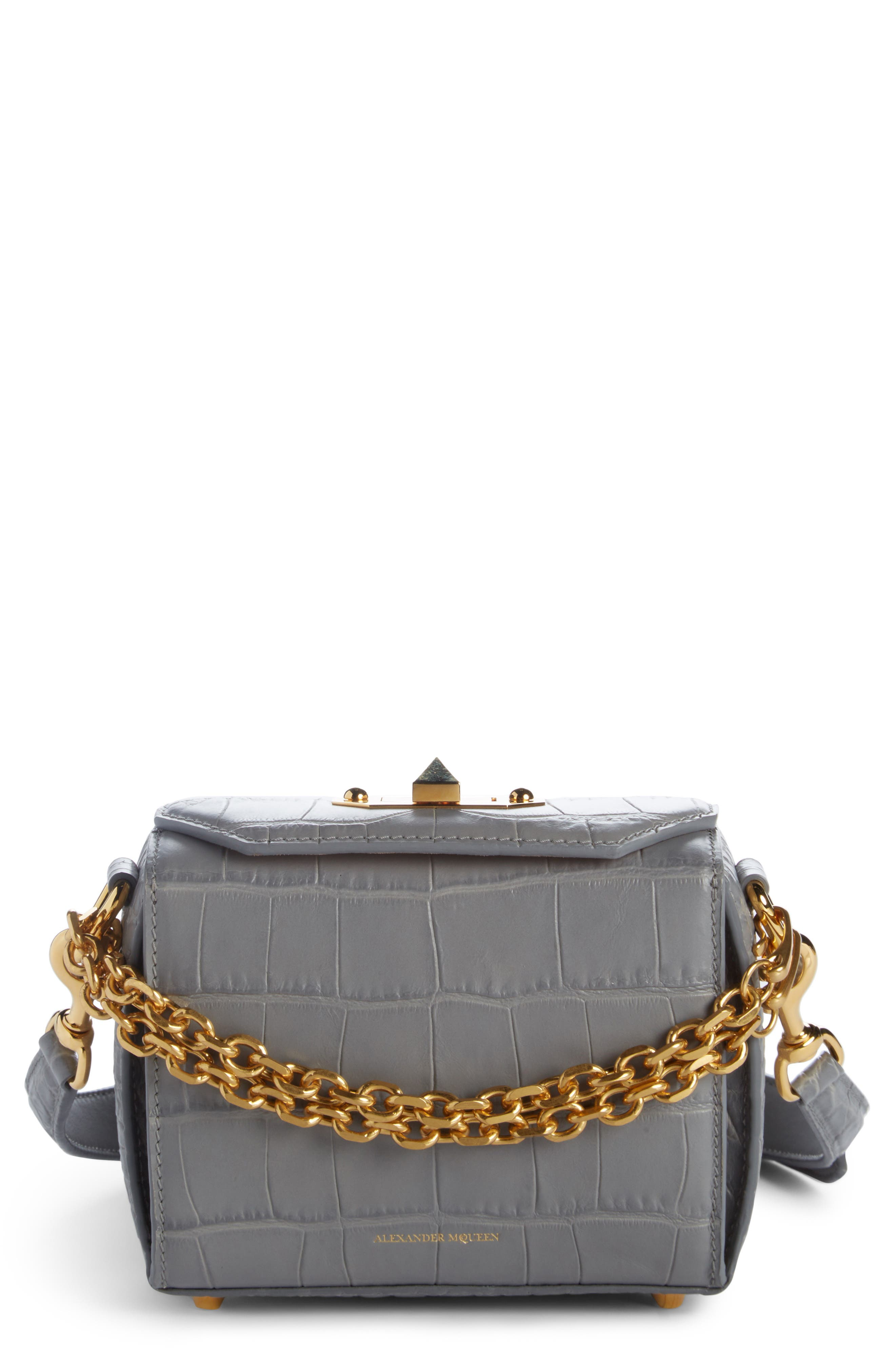 Mini Box Croc-Embossed Leather Bag,                         Main,                         color, Smog