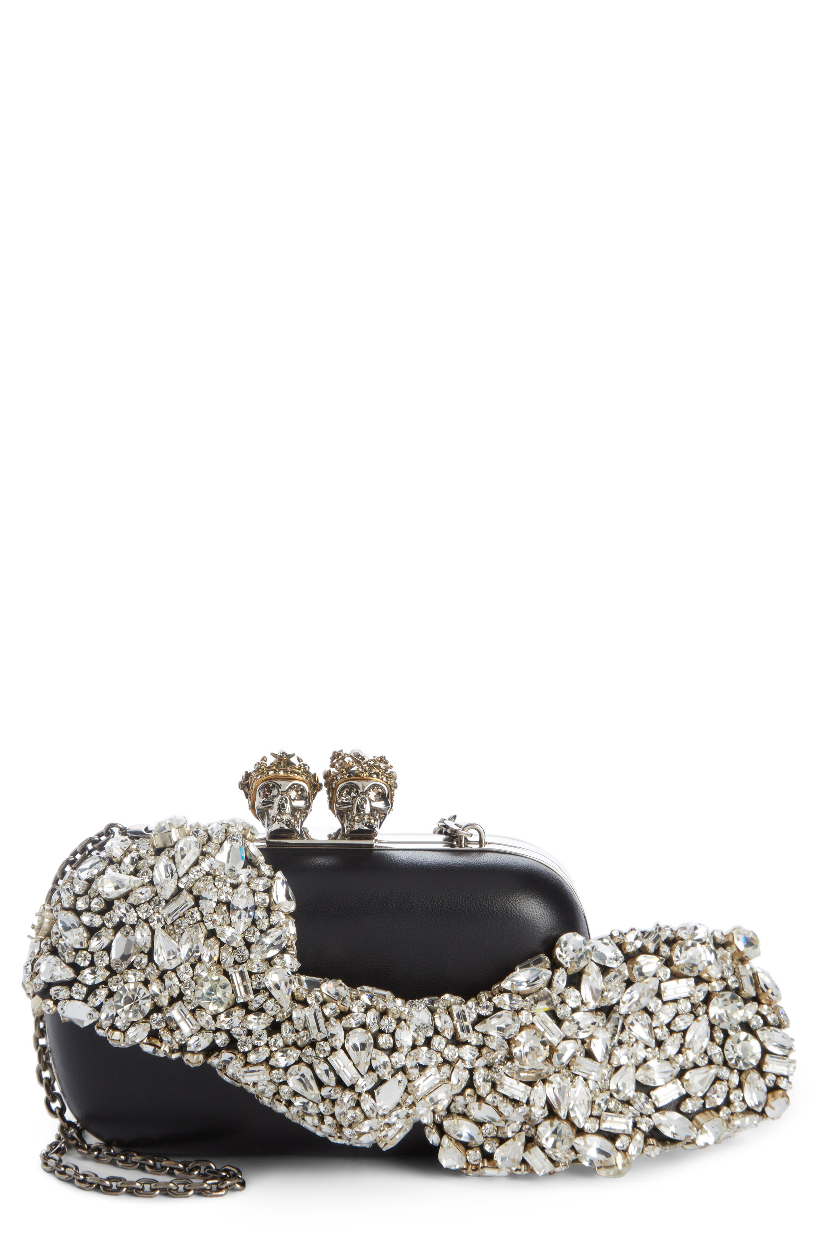 Queen & King Crystal Bow Clutch,                             Main thumbnail 1, color,                             Black