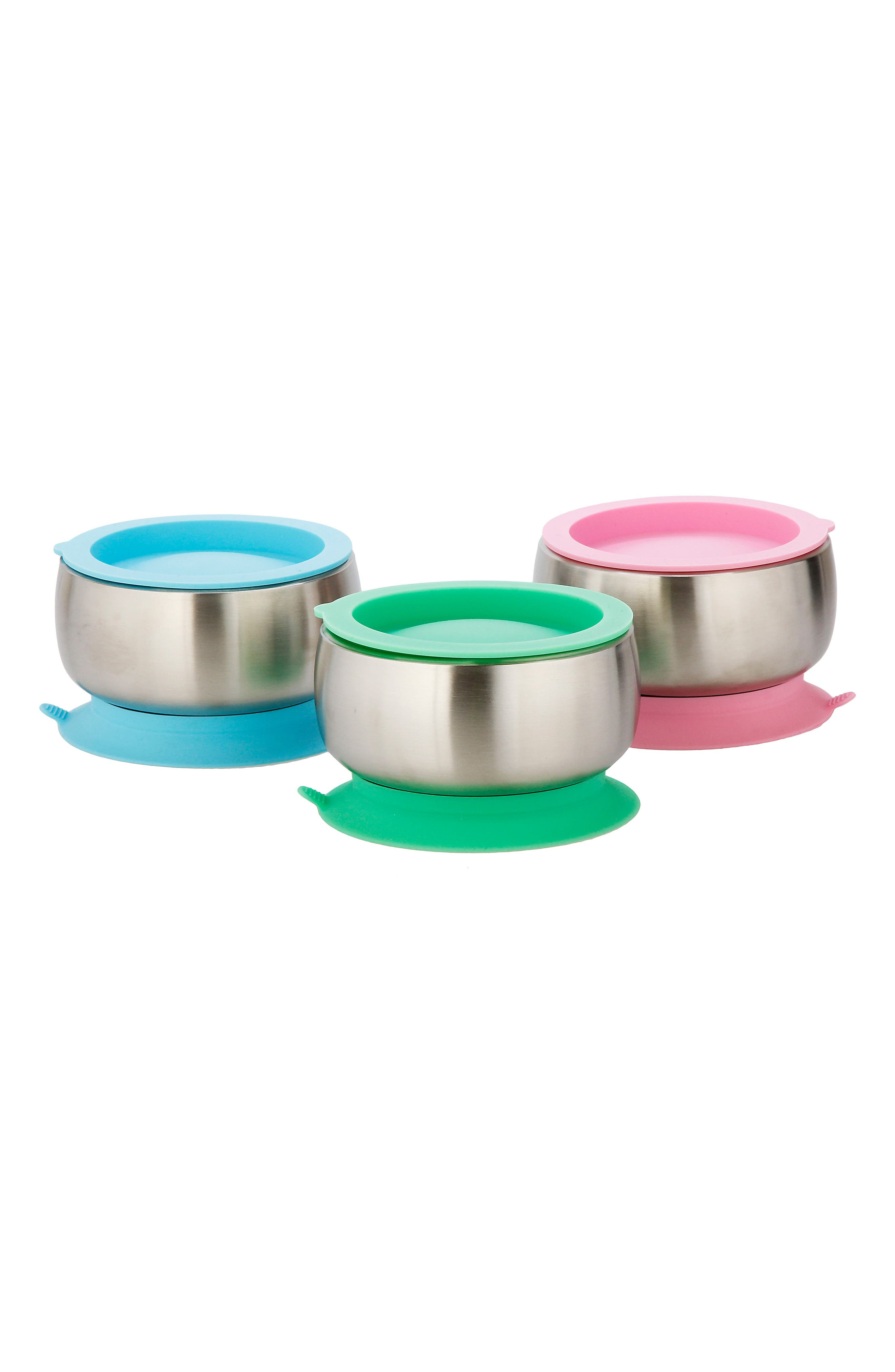 Stainless Steel Stay-Put Suction Bowl & Lid,                             Alternate thumbnail 3, color,                             Pink