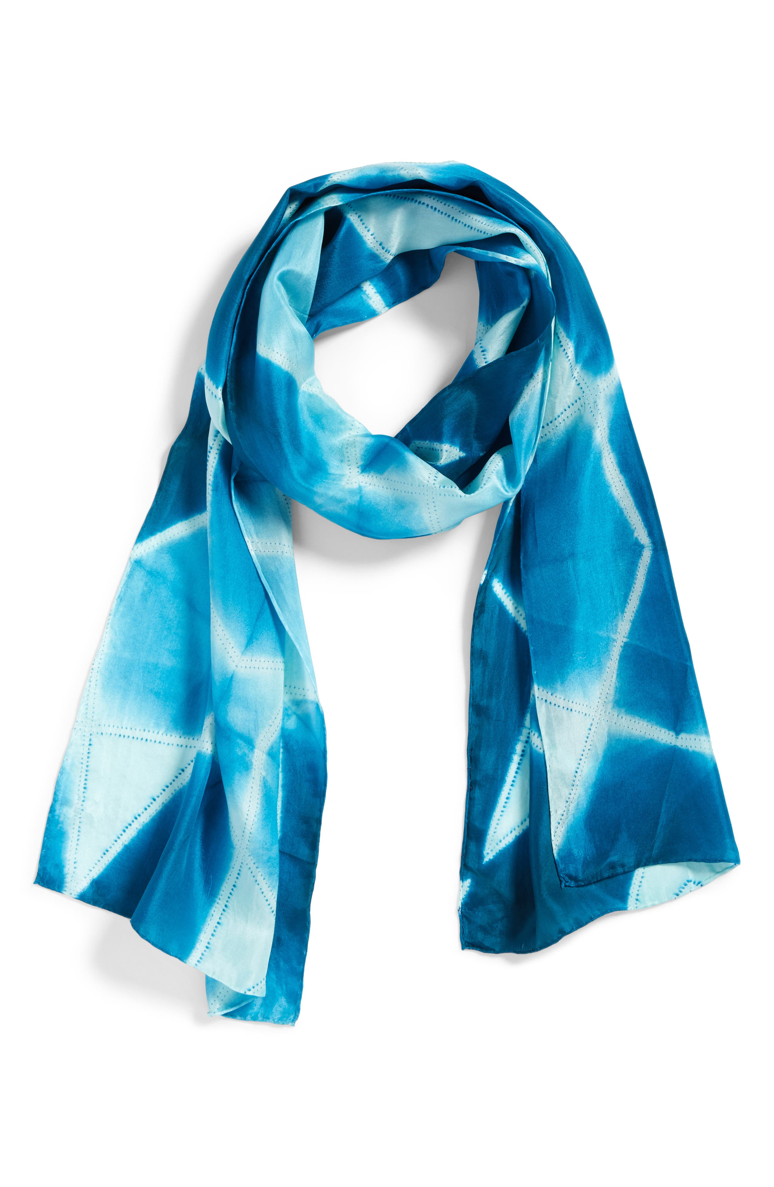 Tie Dye Silk Scarf,                             Alternate thumbnail 4, color,                             Blue Spruce