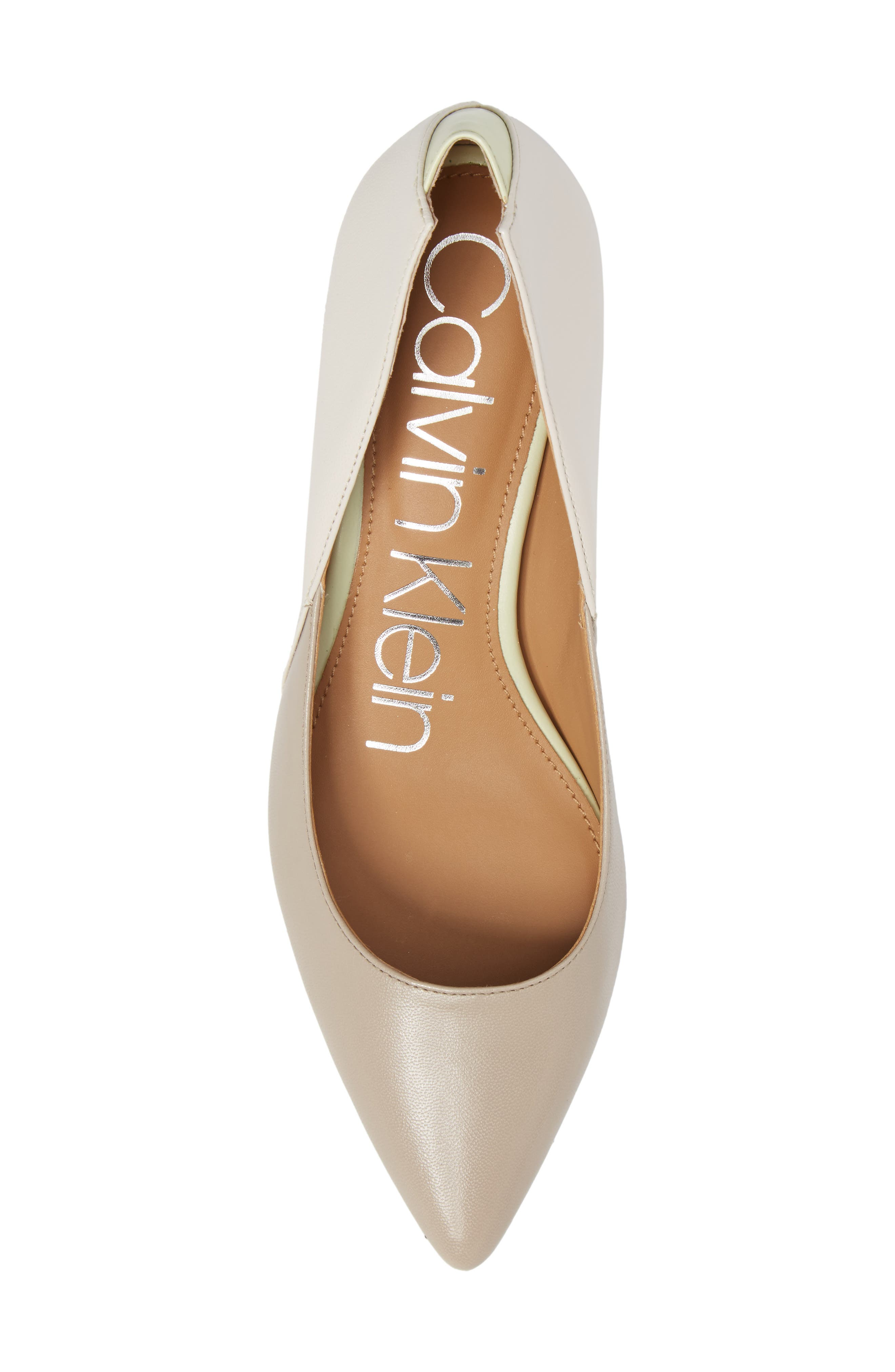 Grayce Pointy Toe Pump,                             Alternate thumbnail 5, color,                             Clay/ White Leather