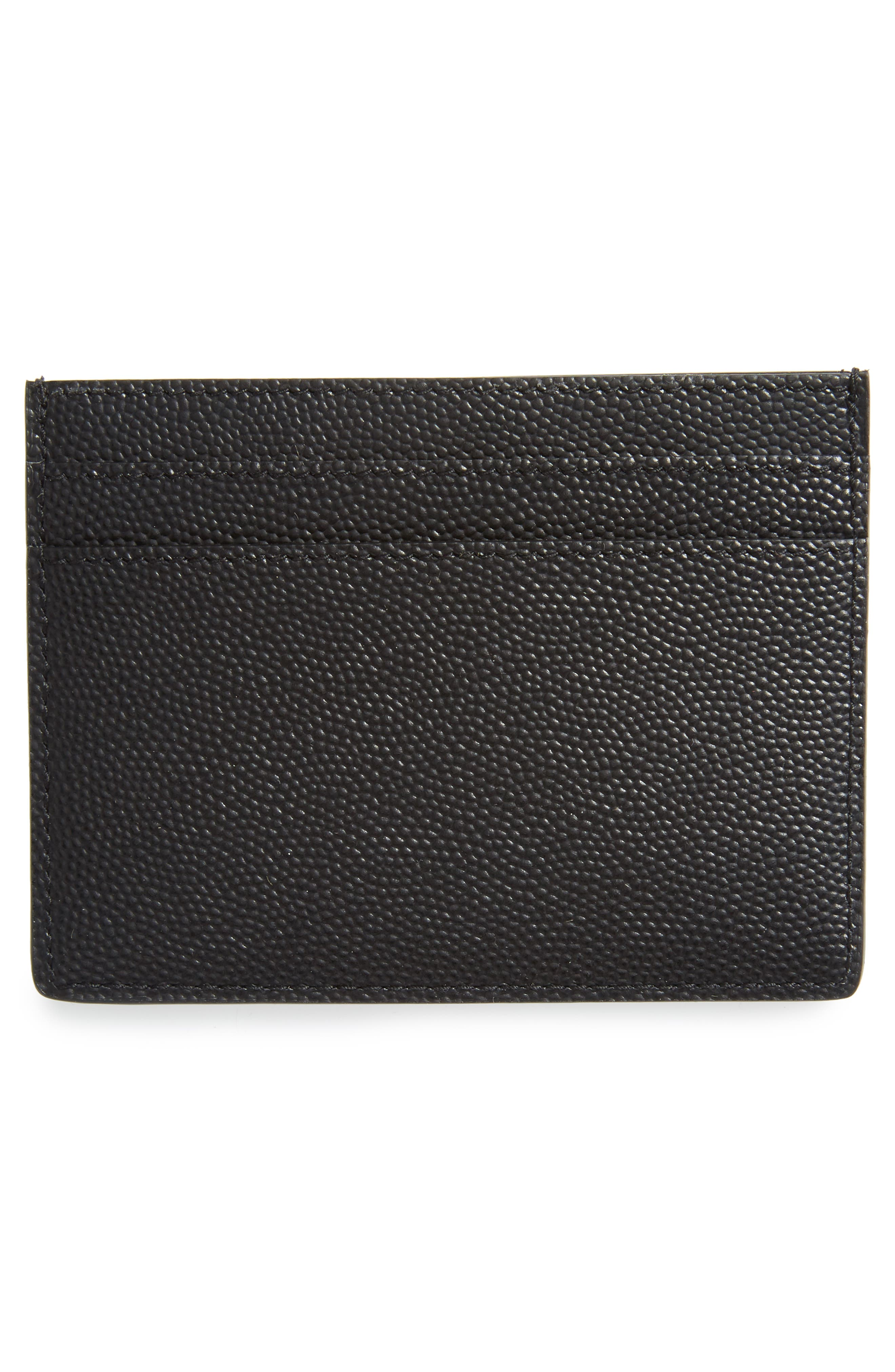 Pebble Grain Leather Card Case,                             Alternate thumbnail 2, color,                             Nero