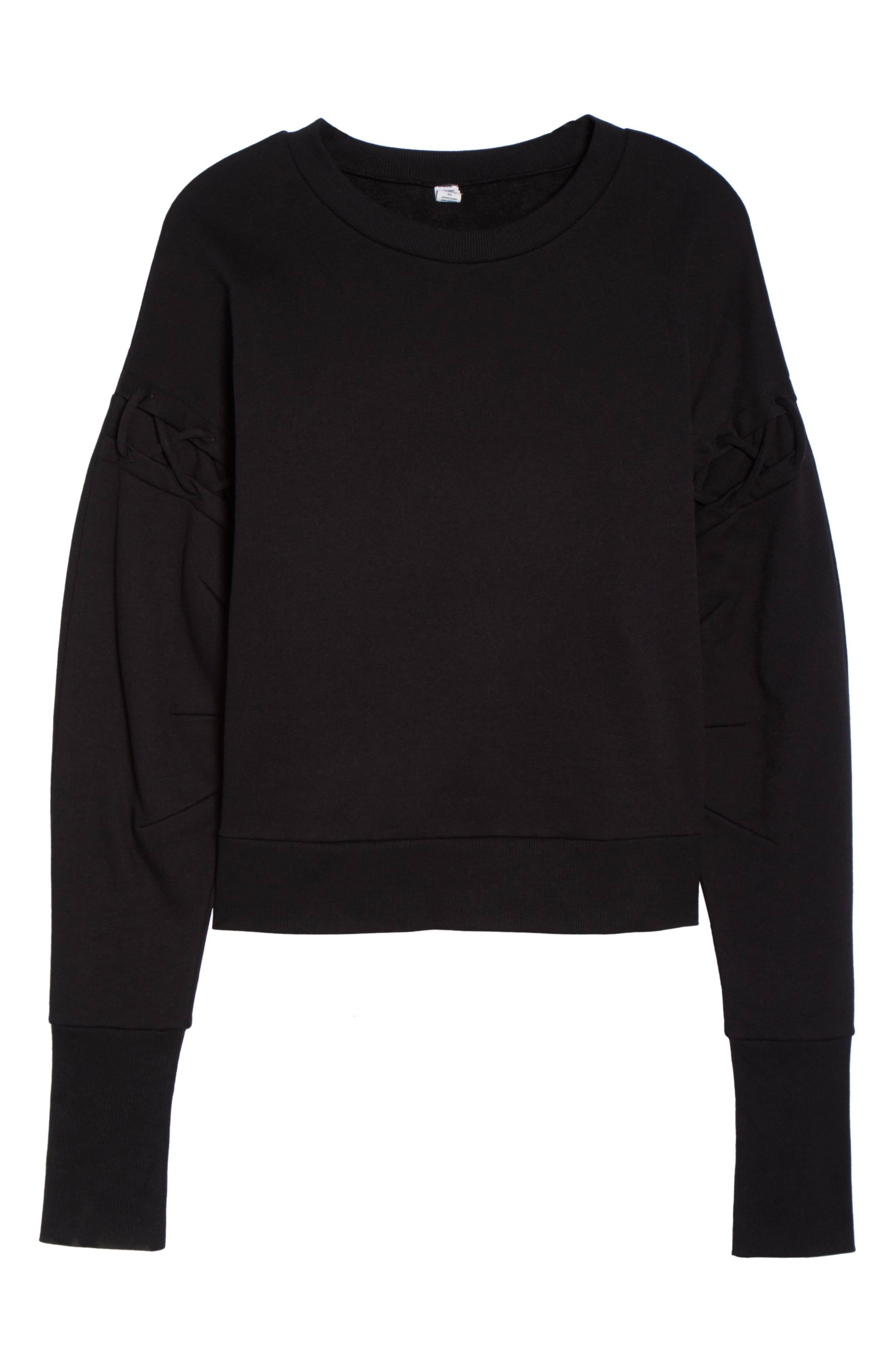Lattice Long Sleeve Pullover,                             Alternate thumbnail 7, color,                             Black