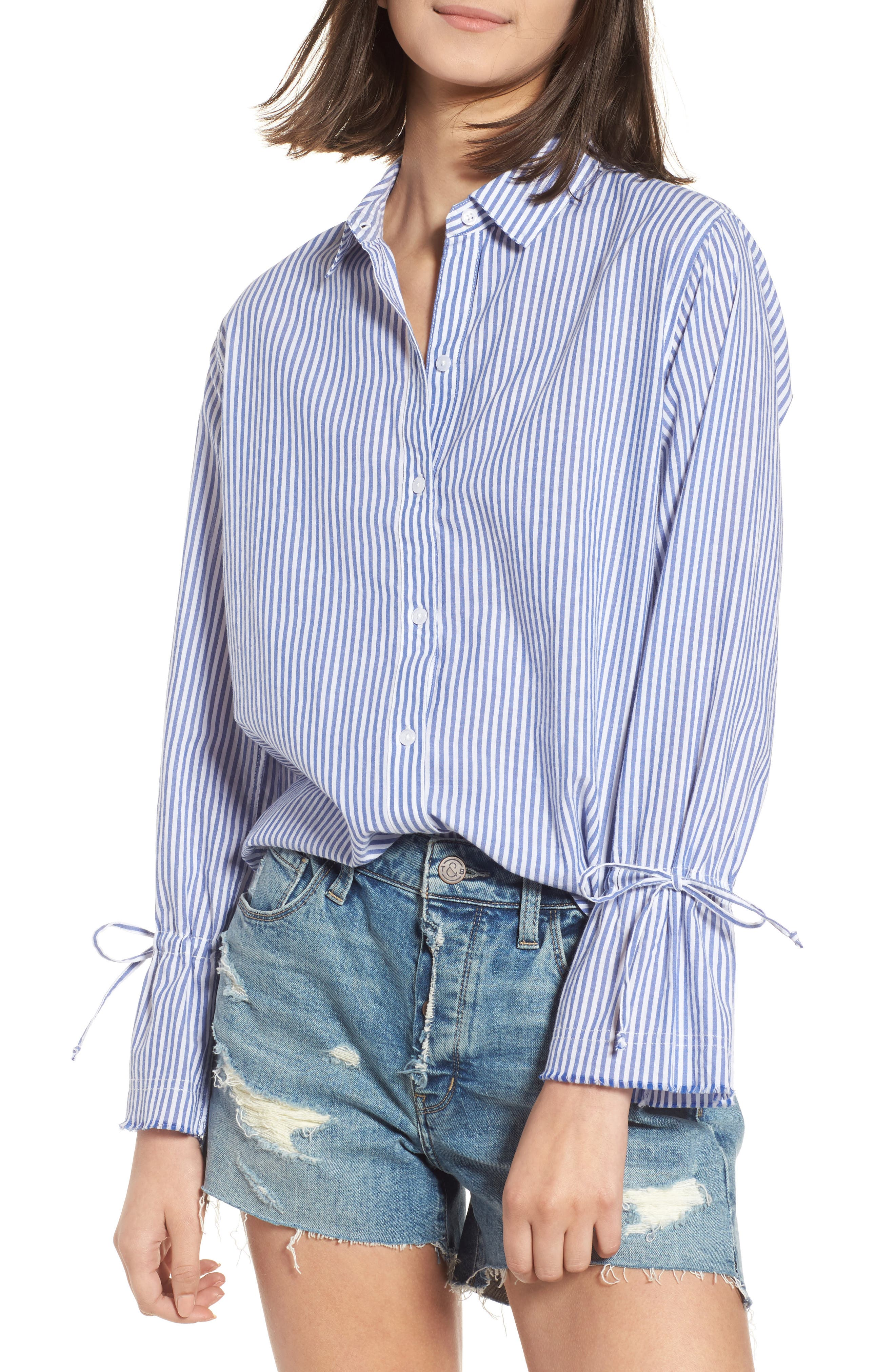 Astrid Tie Cuff Shirt,                             Main thumbnail 1, color,                             Banker Stripe