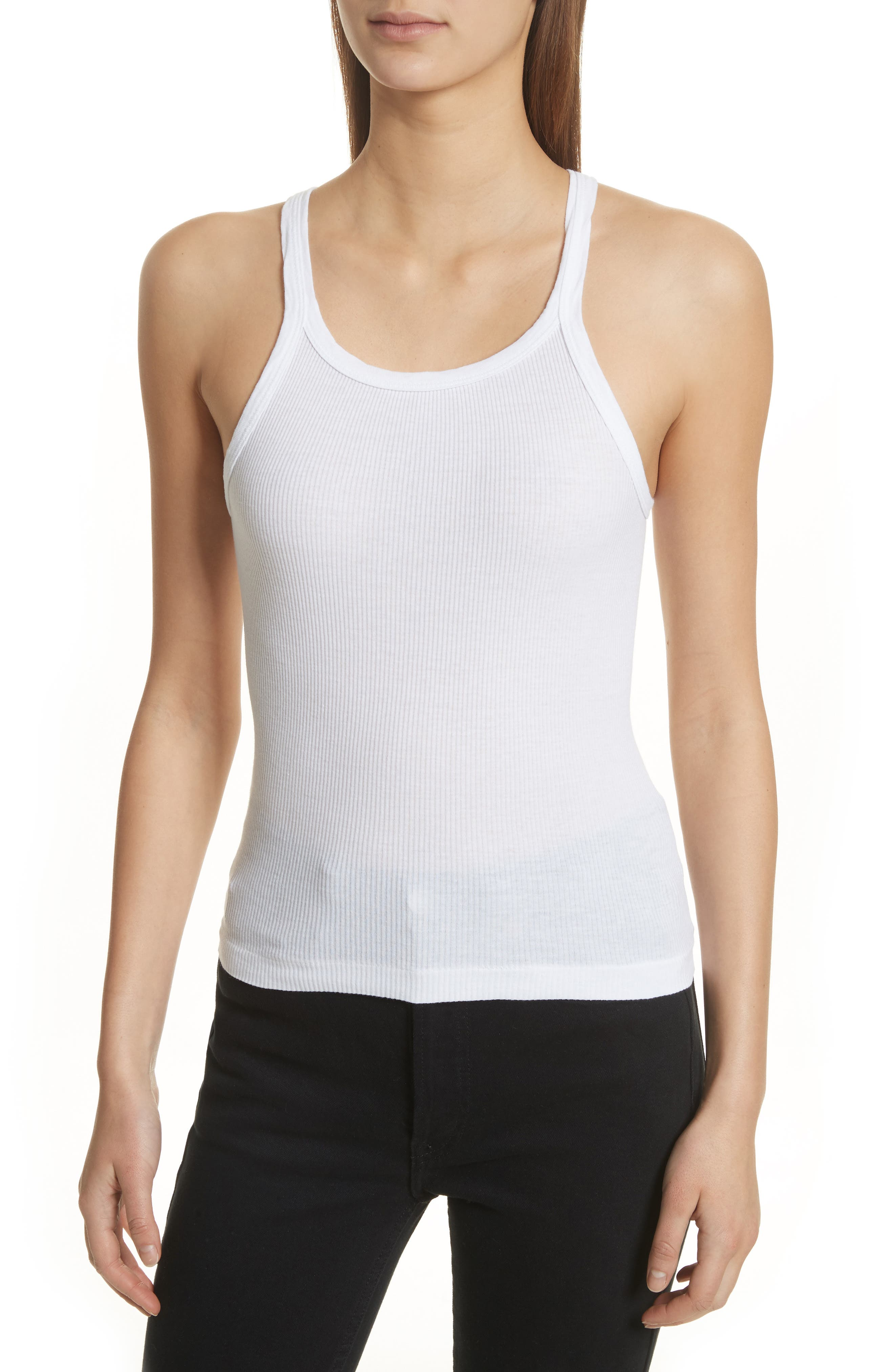 Ribbed Tank Top,                         Main,                         color, Optic White
