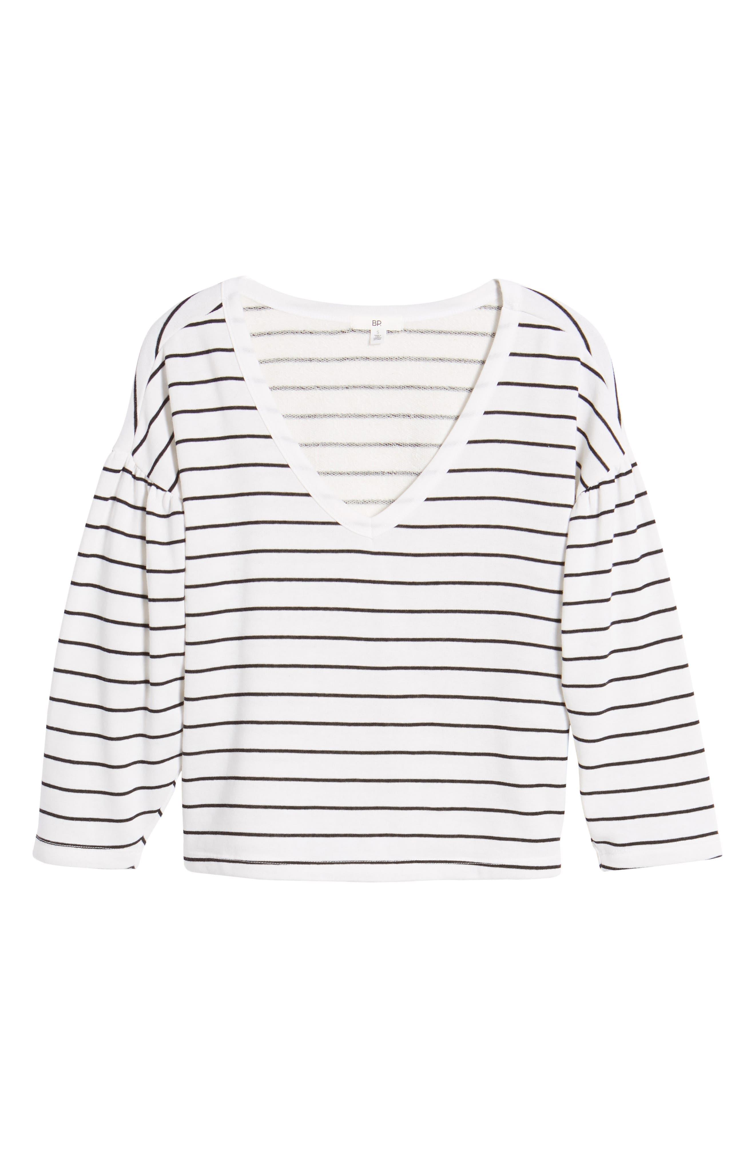 Drop Shoulder Stripe Sweater,                             Alternate thumbnail 6, color,                             White Liz Stripe