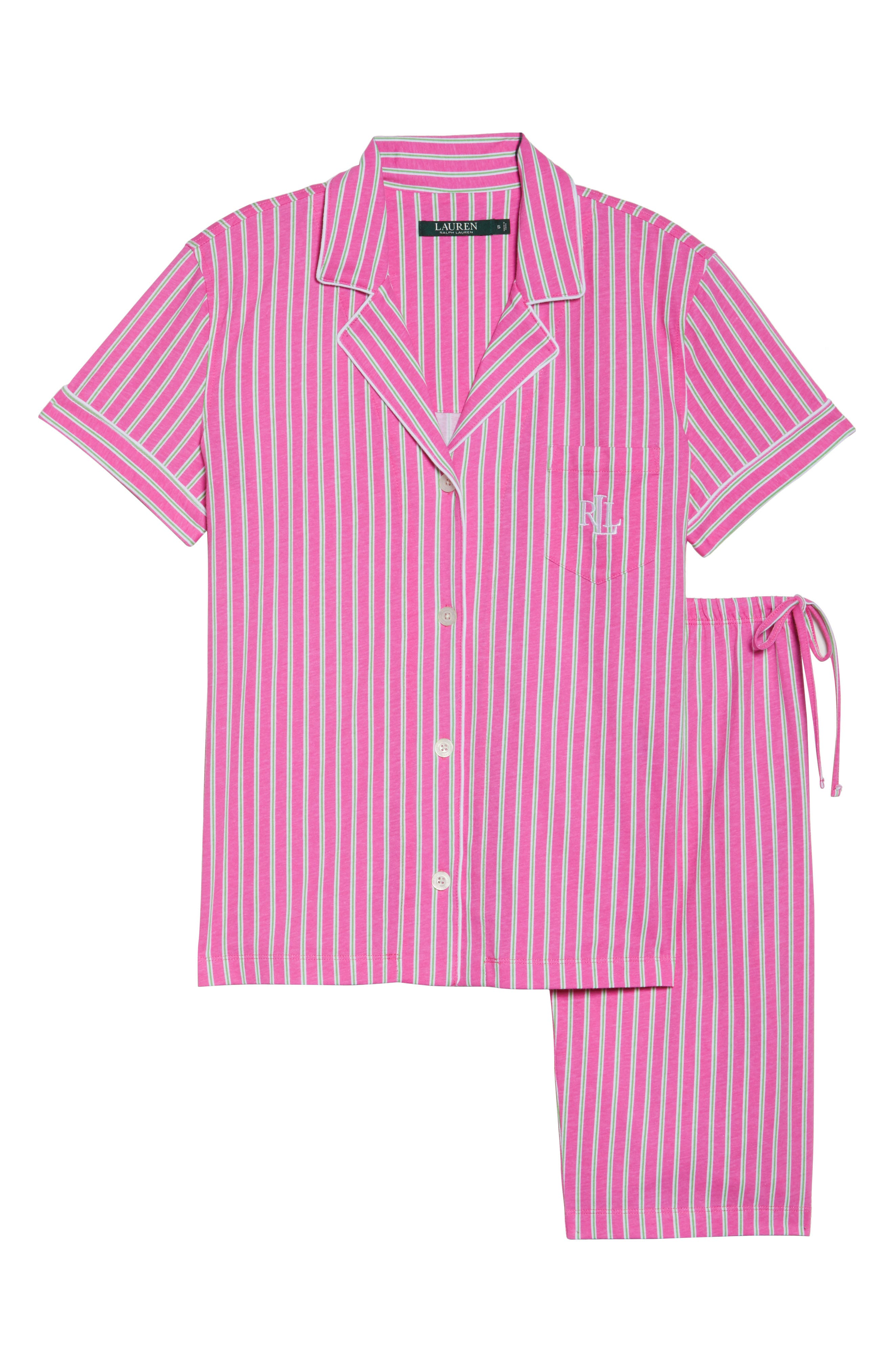 Bermuda Pajamas,                             Alternate thumbnail 4, color,                             Pink Stripe