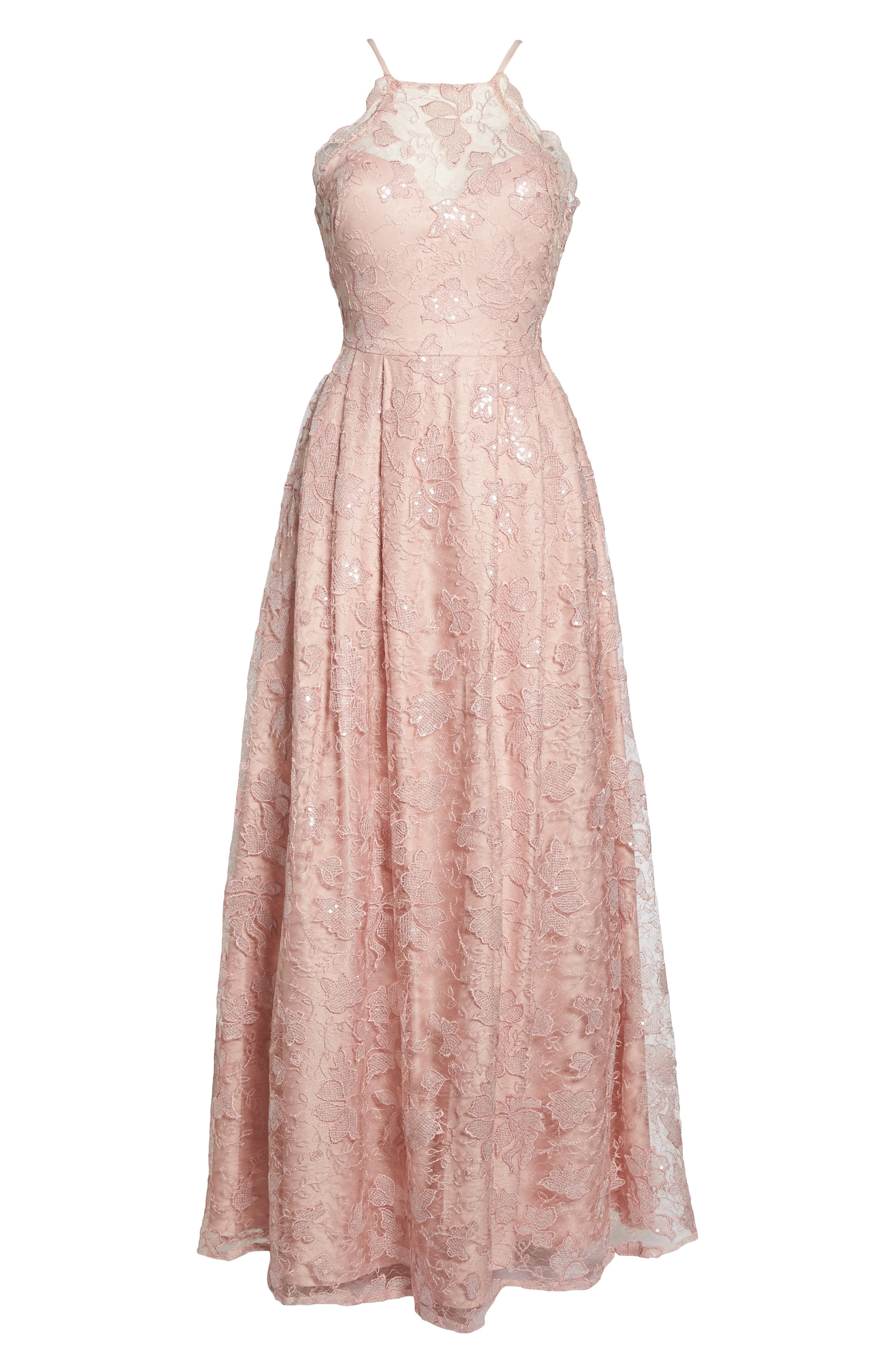 Alternate Image 6  - Morgan & Co. Lace-Up Back Embroidered Gown