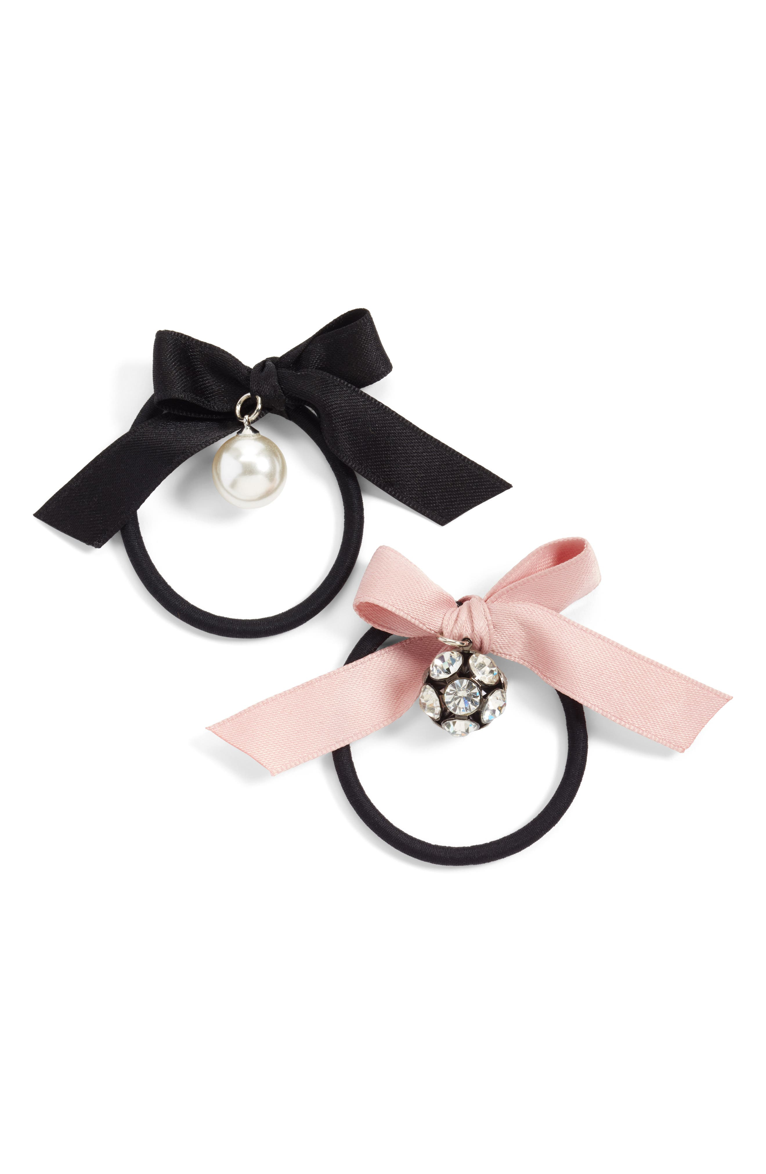 2-Pack Bow with Imitation Pearl & Crystal Charm Ponytail Holders,                             Main thumbnail 1, color,                             Black/ Pink